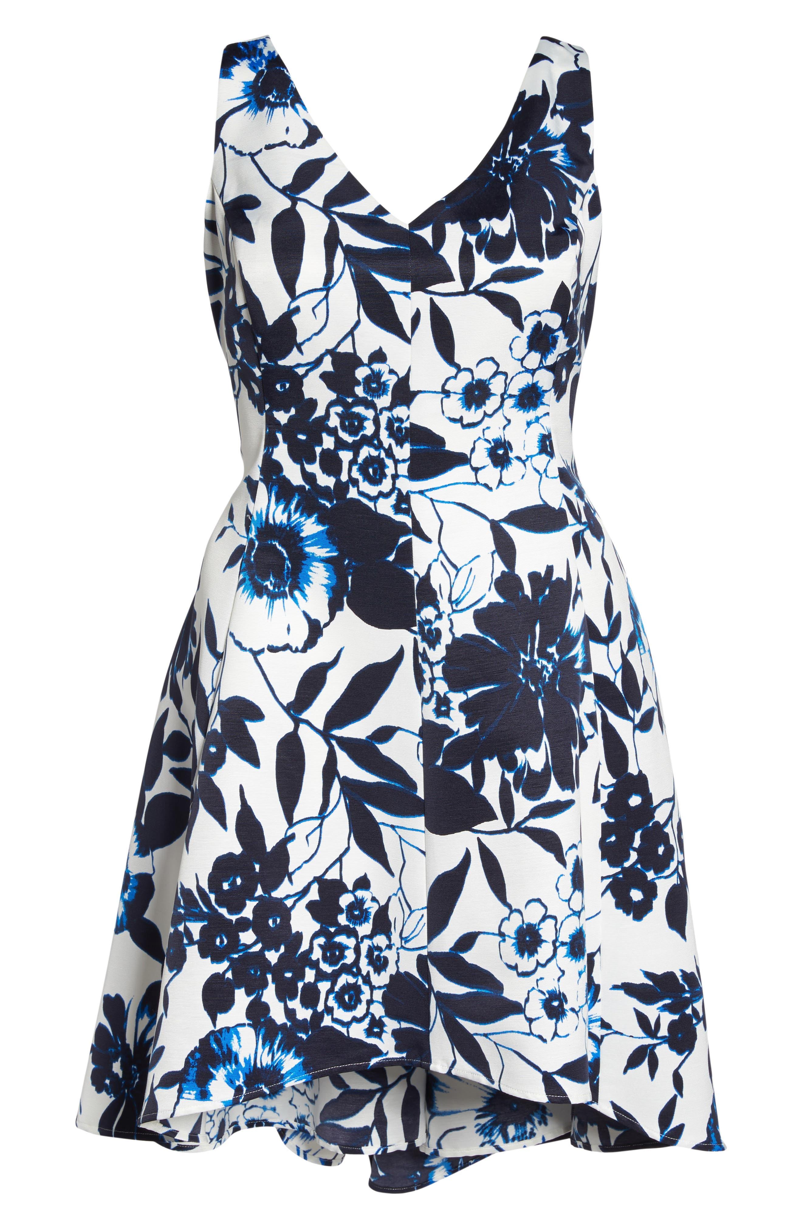 Asymmetric Hem Fit & Flare Dress,                             Alternate thumbnail 6, color,                             Navy/ Ivory