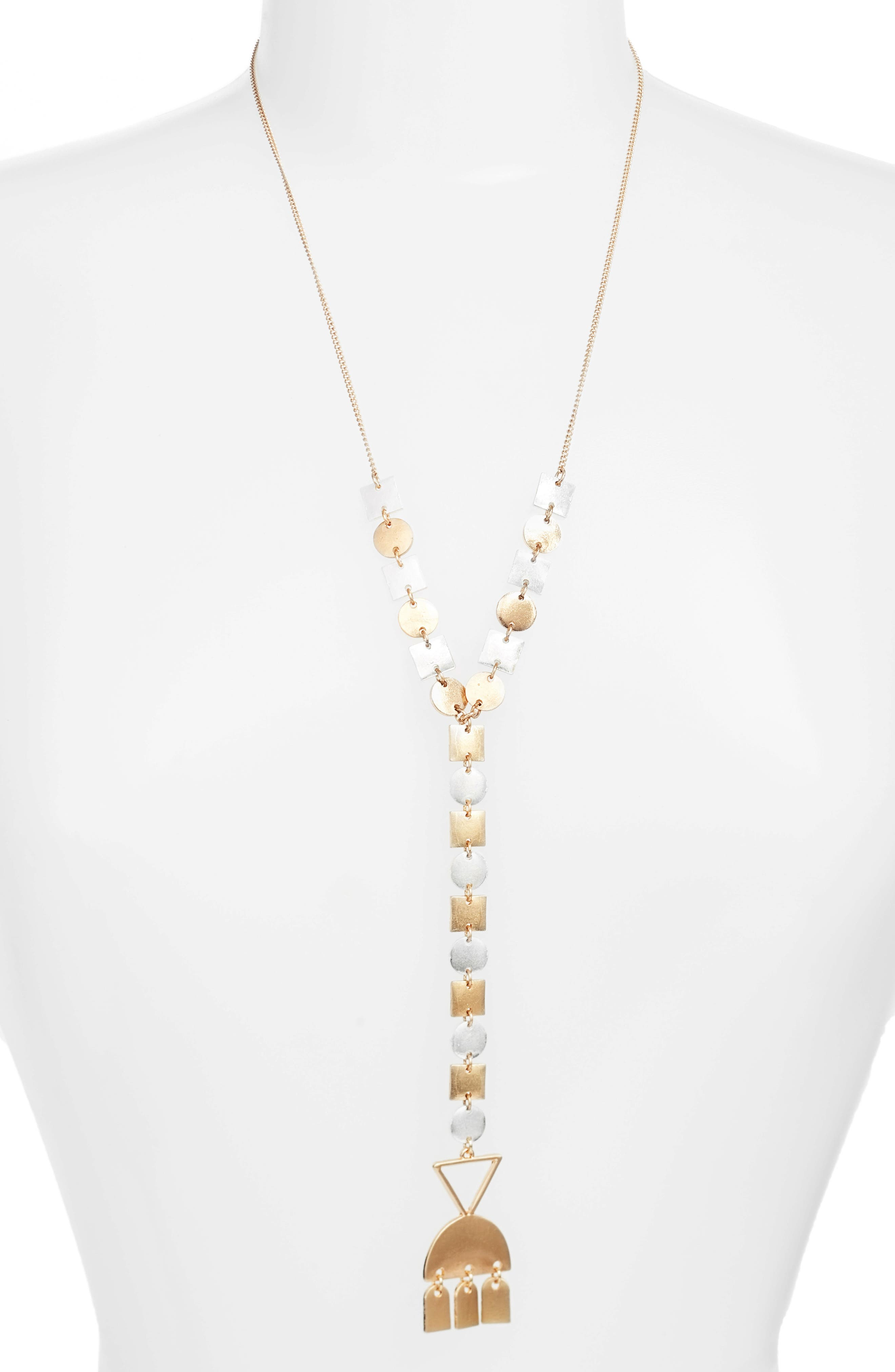 Multishape Y-Necklace,                         Main,                         color, Matte Gold/ Silver