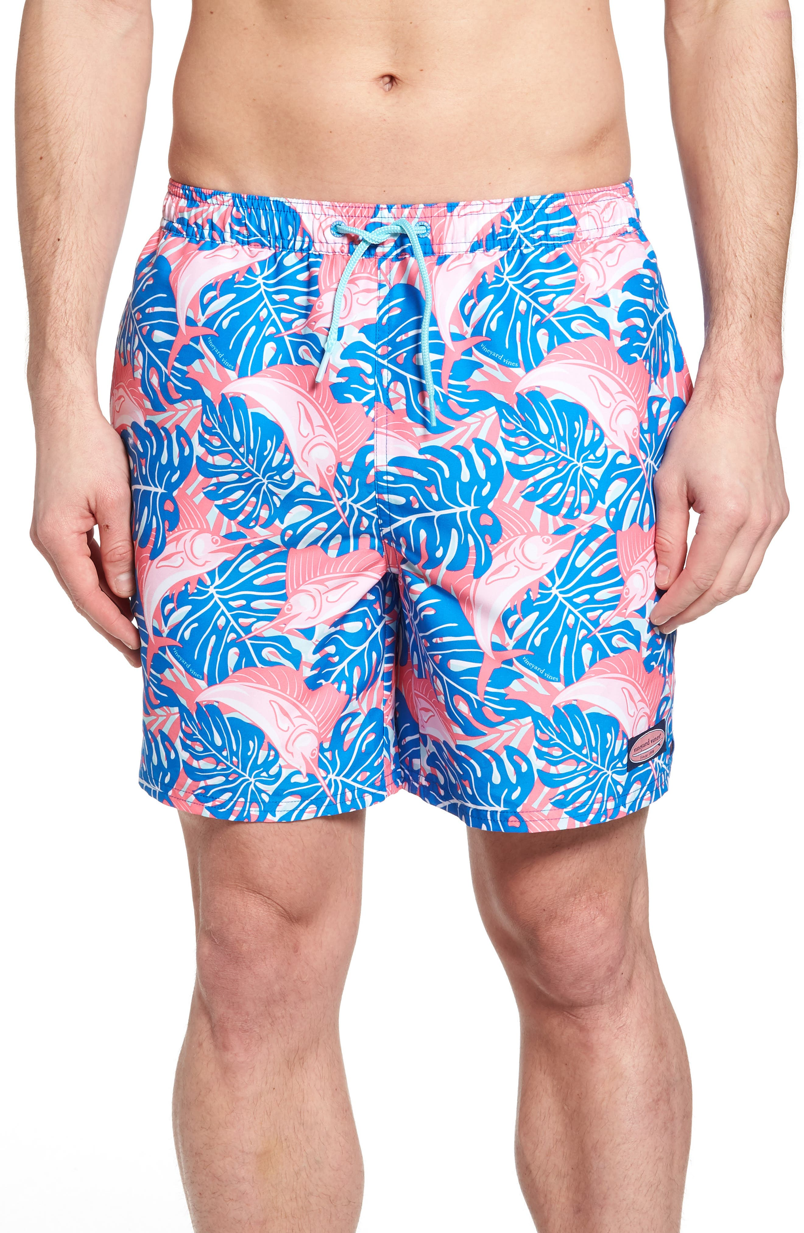 Sailfish & Leaves Chappy Swim Trunks,                             Main thumbnail 1, color,                             Azure Blue