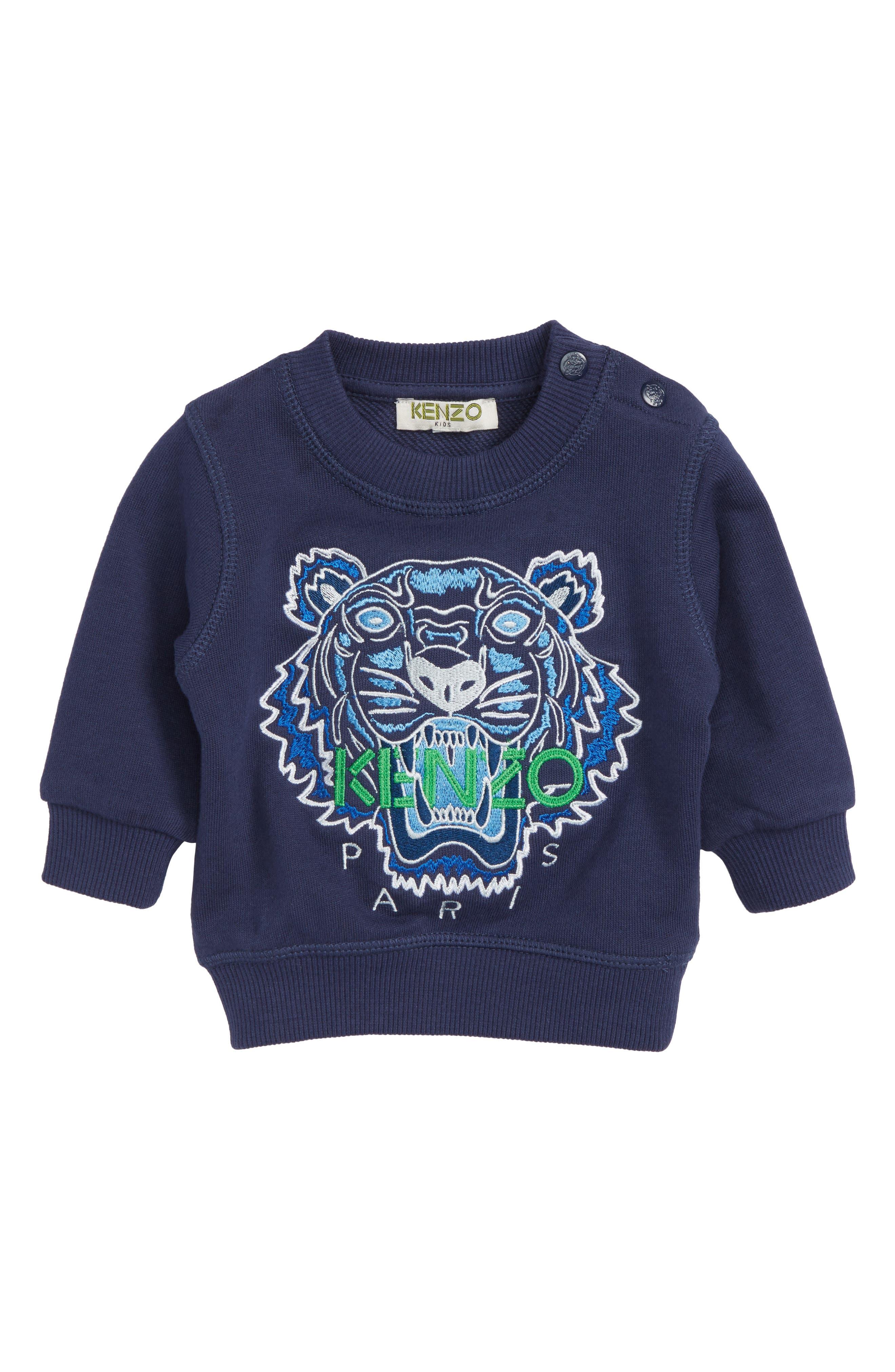 Embroidered Tiger Logo Sweatshirt,                             Main thumbnail 1, color,                             Navy