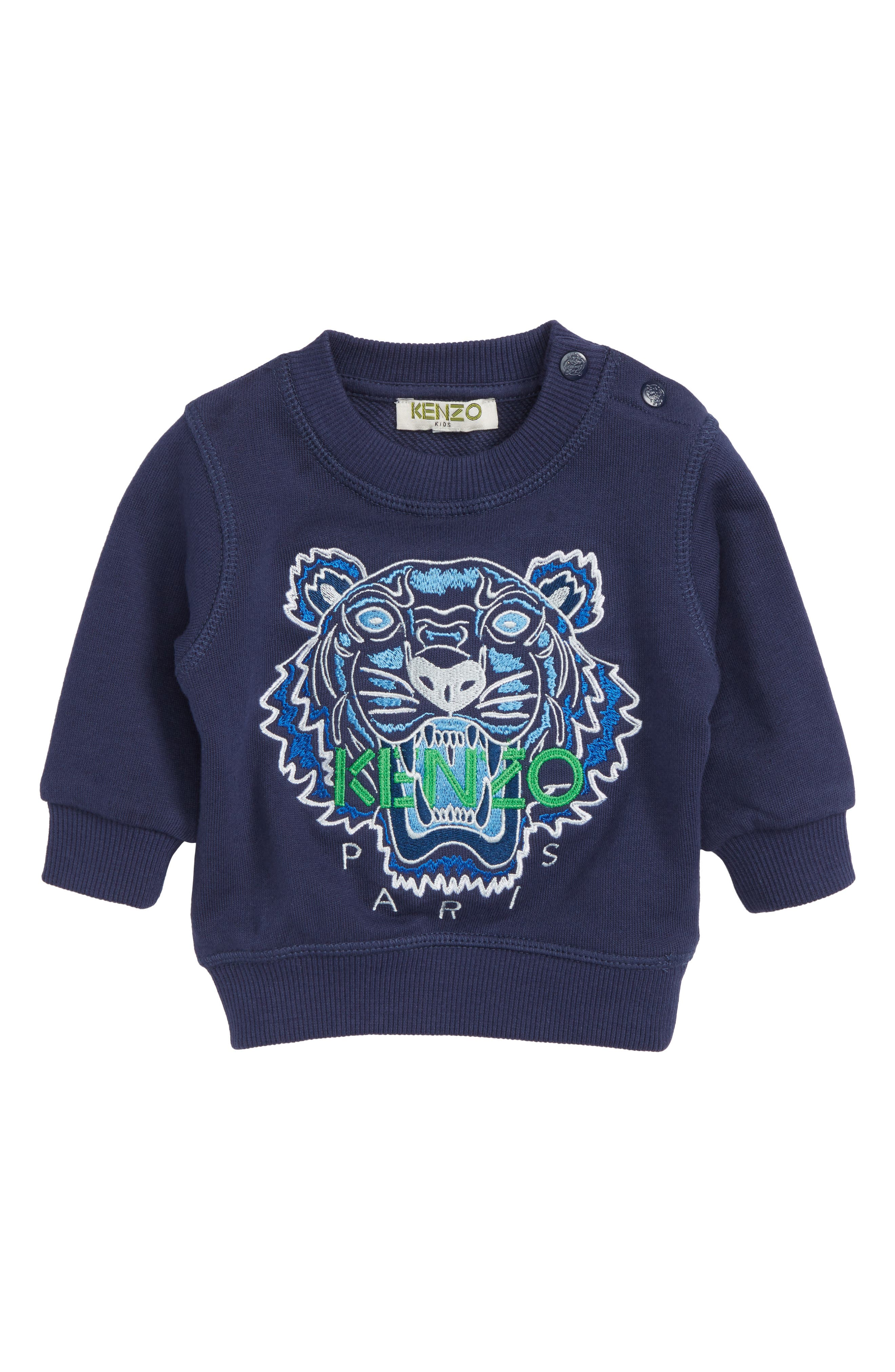 Embroidered Tiger Logo Sweatshirt,                         Main,                         color, Navy