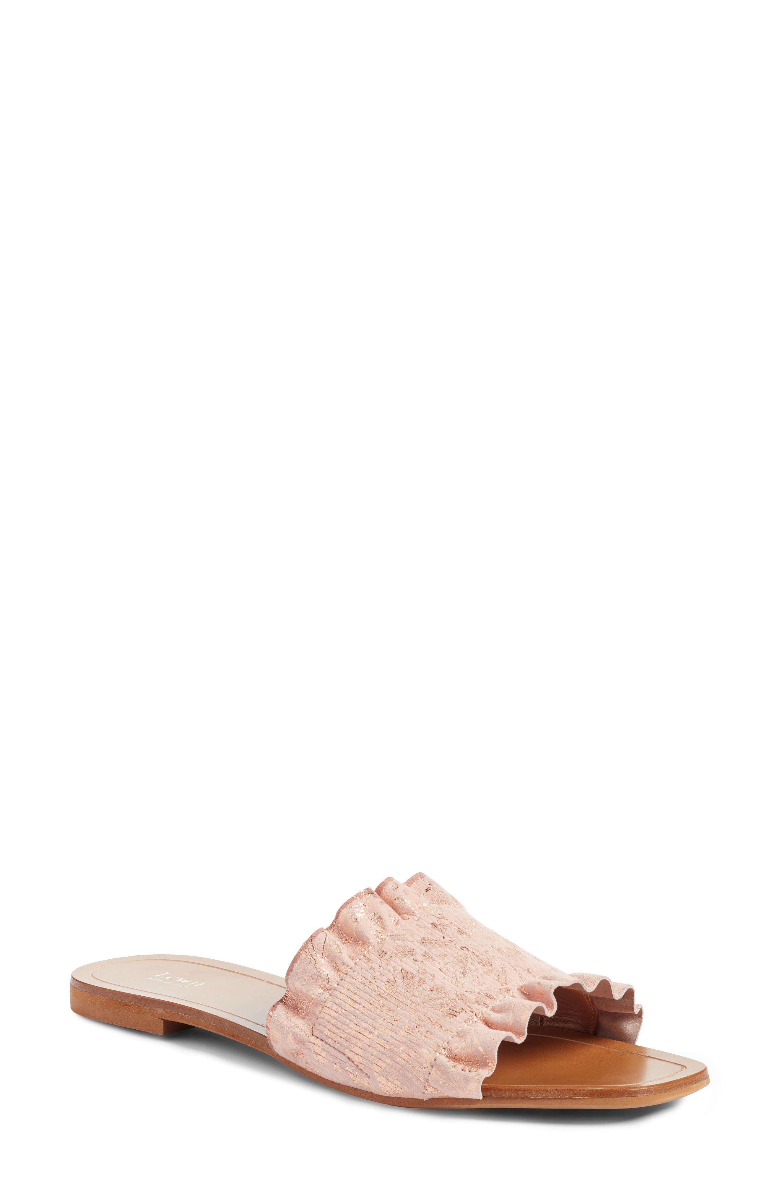 Cassandra Ruffle Slide Sandal,                         Main,                         color, Rose Gold Leather