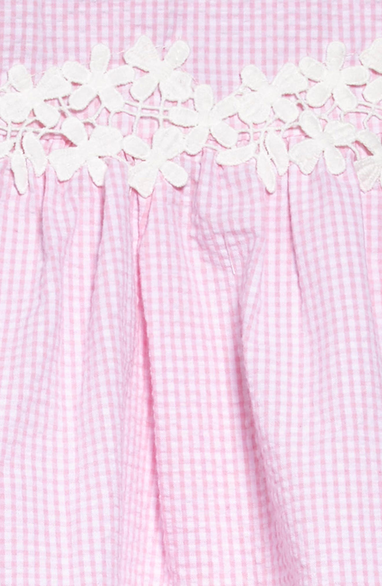 Cold Shoulder Dress,                             Alternate thumbnail 3, color,                             Pink White