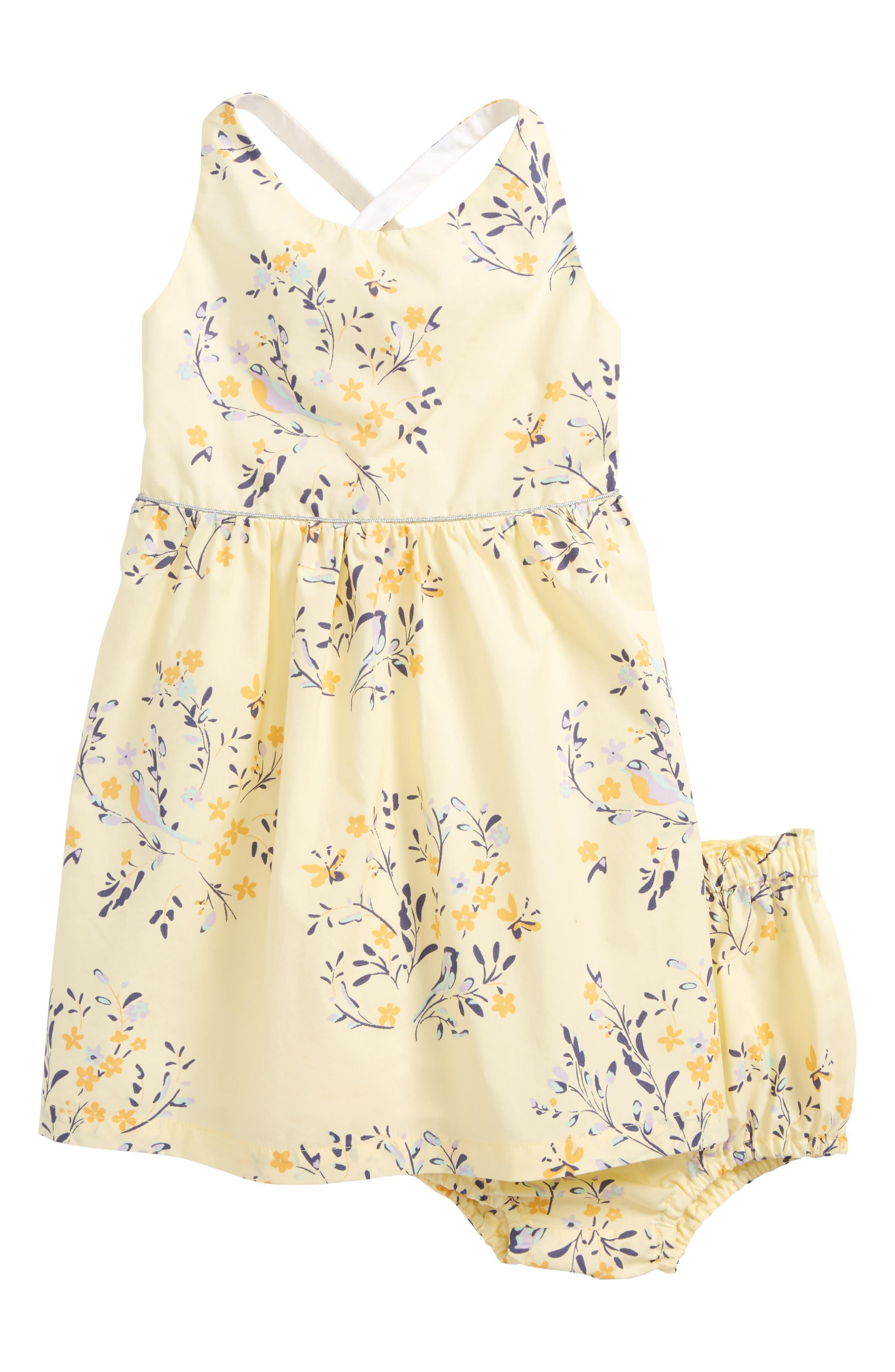 Print Sundress,                             Main thumbnail 1, color,                             Yellow Soft Floral Birds
