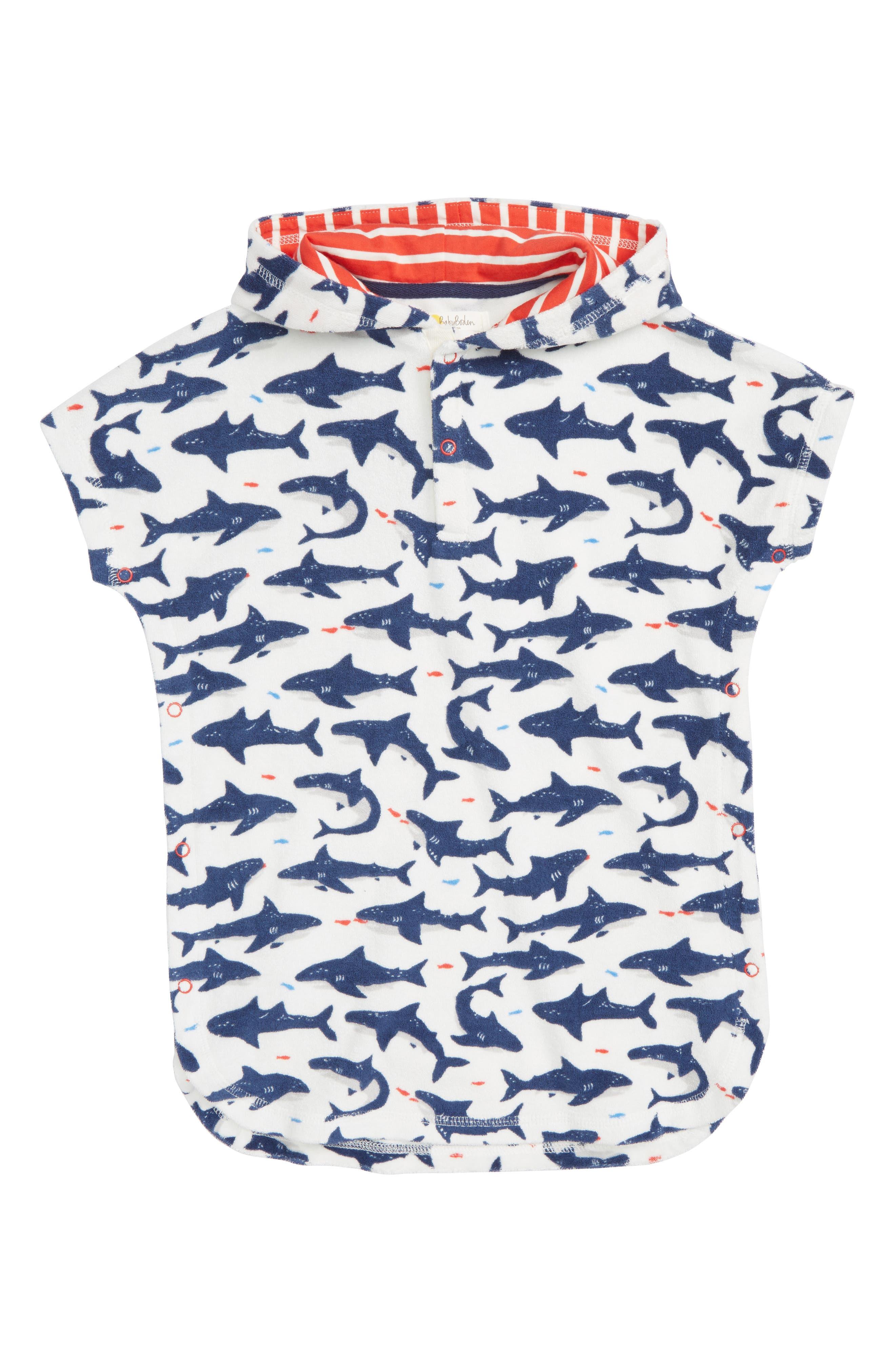 Mini Boden Shark Print Hooded Cover-Up (Baby Boys)