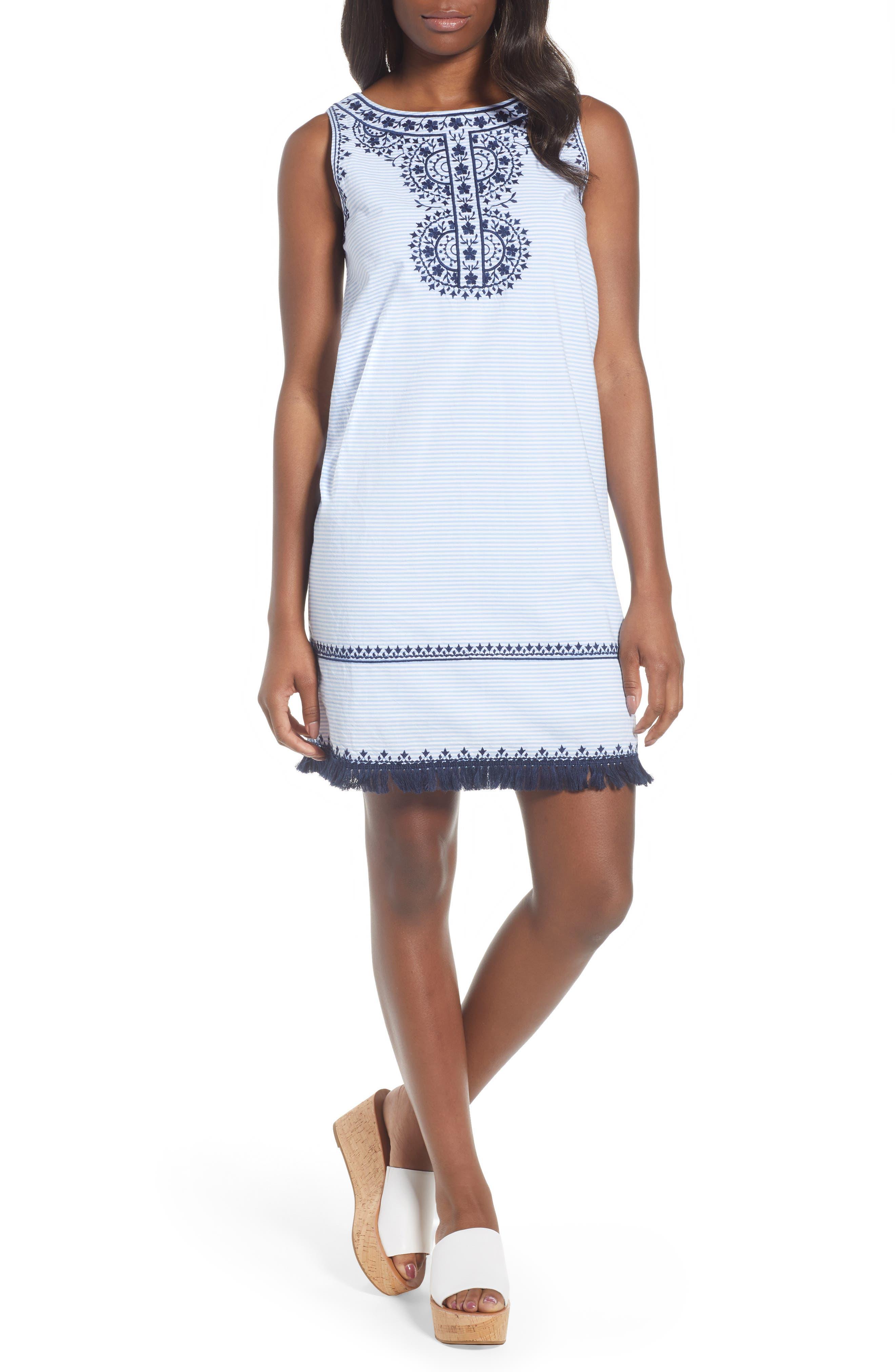 Embroidered Stripe Shift Dress,                         Main,                         color, Hydrangea