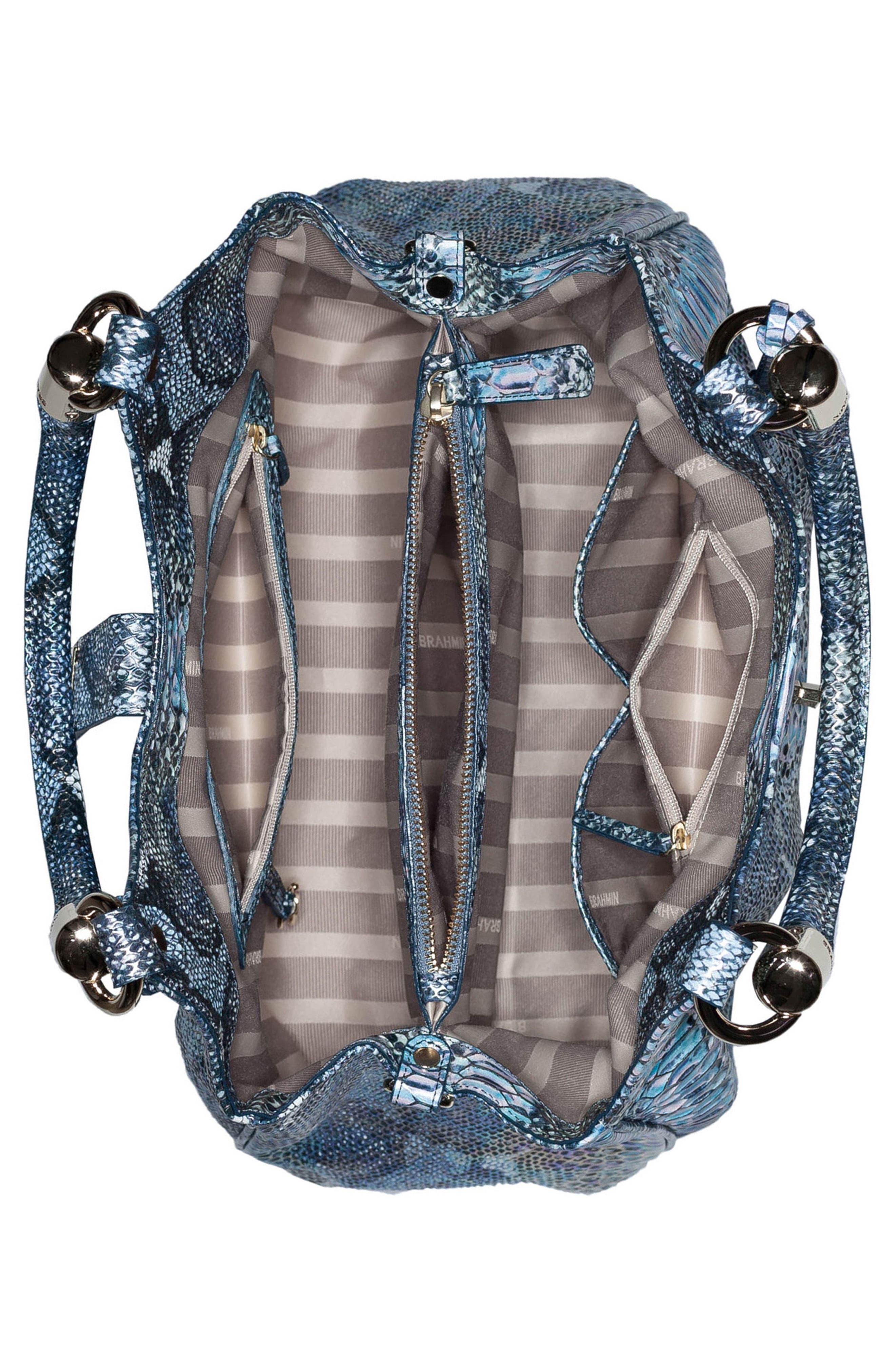 'Elisa' Leather Shopper,                             Alternate thumbnail 3, color,                             Marine Seville