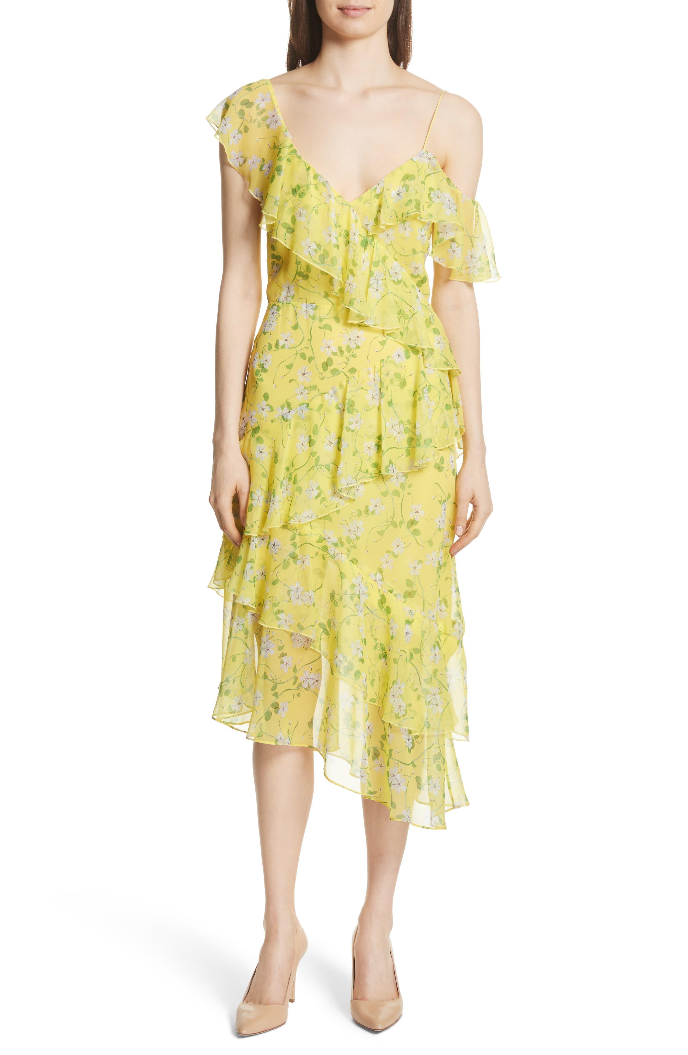 Olympia Asymmetrical Print Silk Dress,                         Main,                         color, Spring Primrose-Lemon