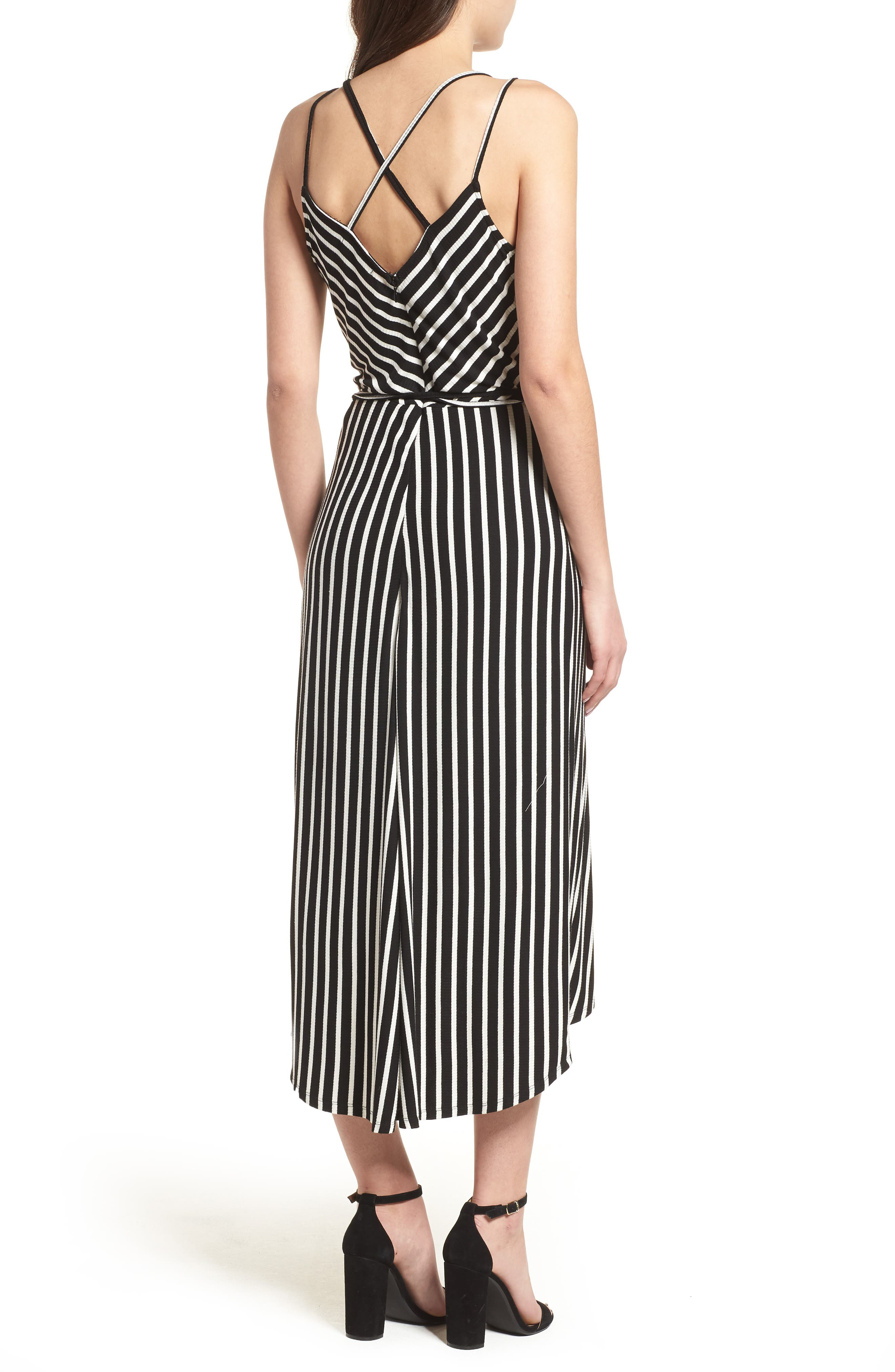 Ribbed Stripe Wrap Dress,                             Alternate thumbnail 2, color,                             Black/ White Stripe