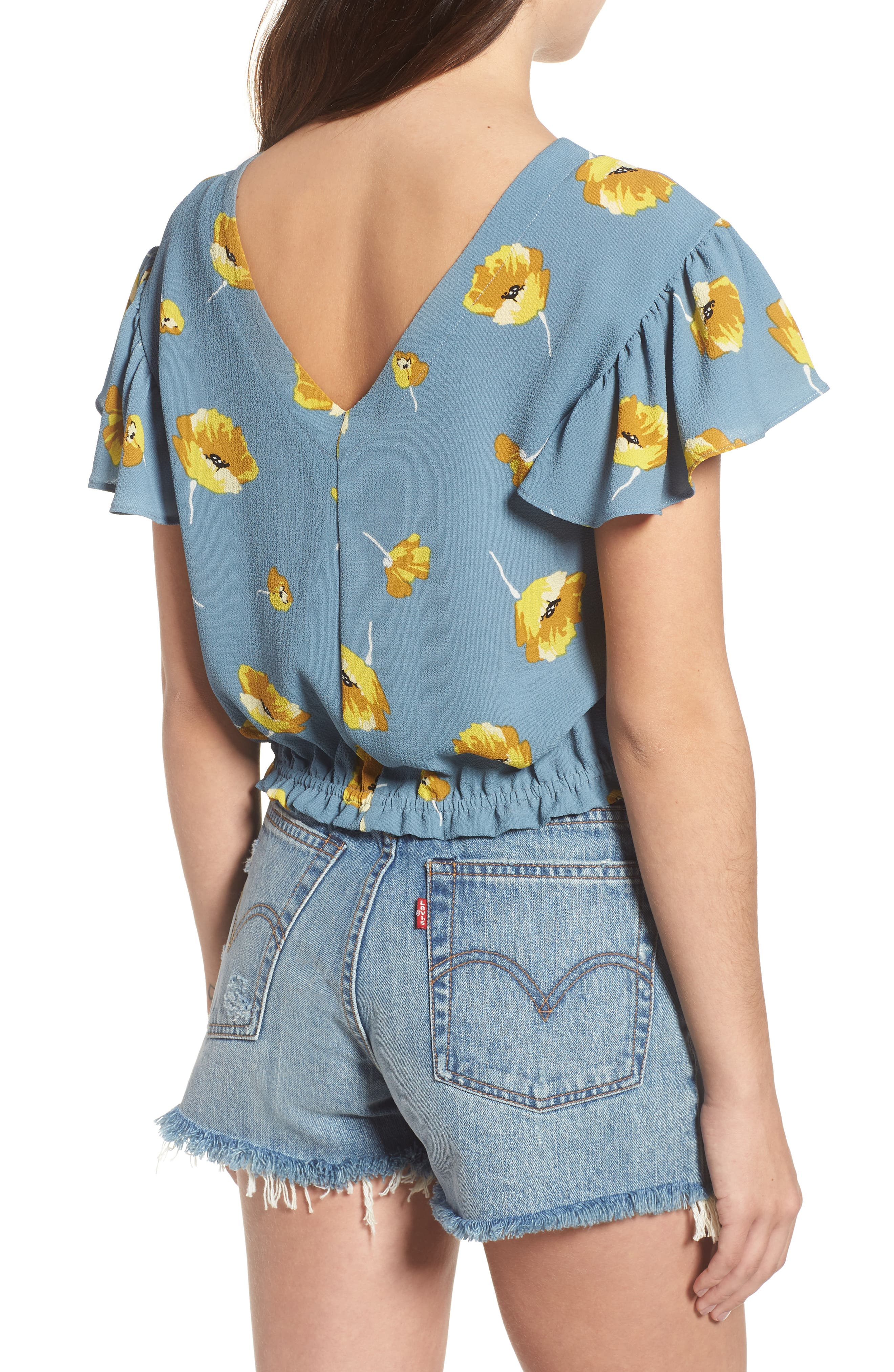 Ruffle Sleeve Crop Top,                             Alternate thumbnail 2, color,                             Blue Yellow