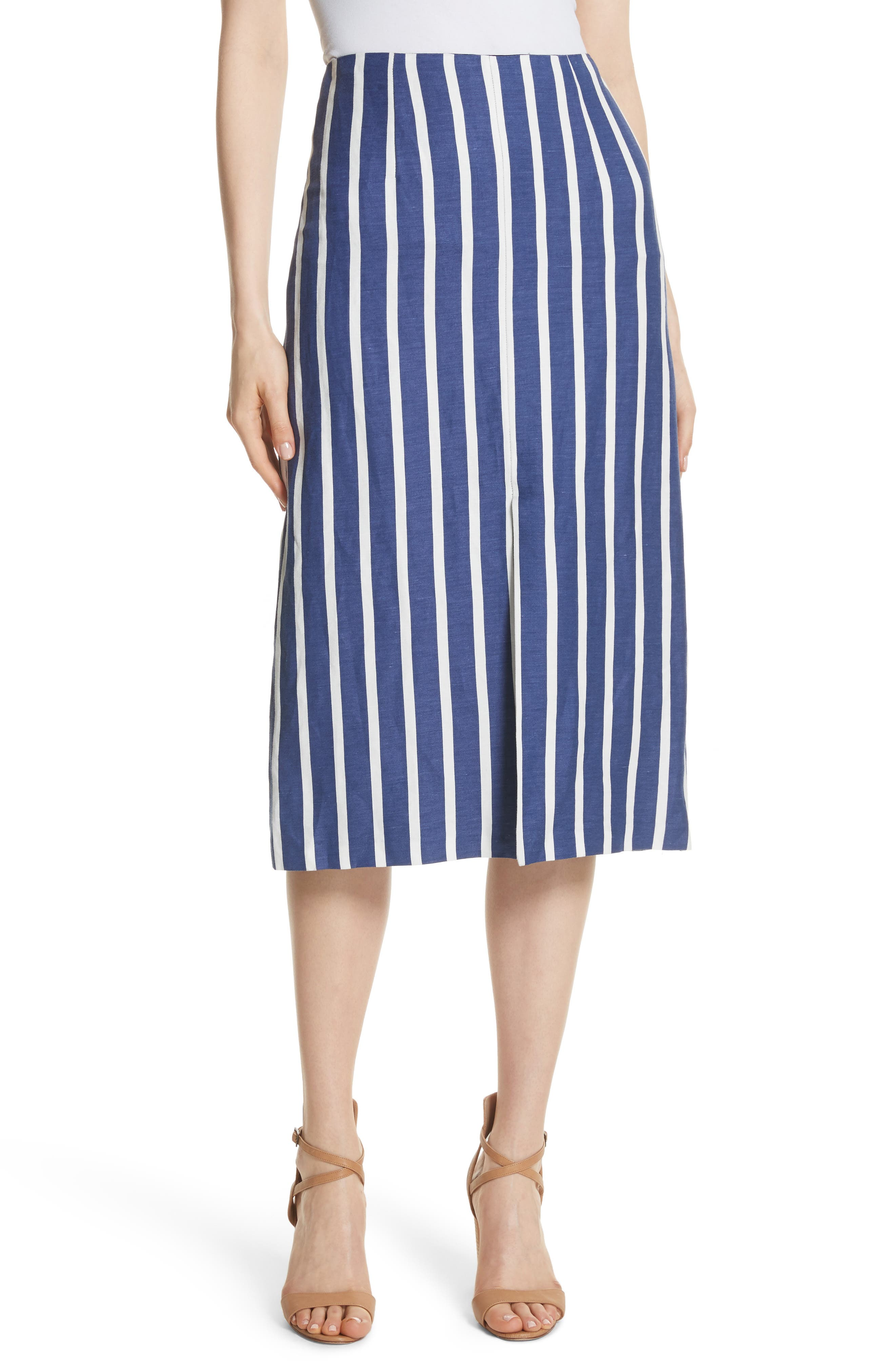 Sabrena Stripe Front Slit Linen Blend Midi Skirt by Alice + Olivia