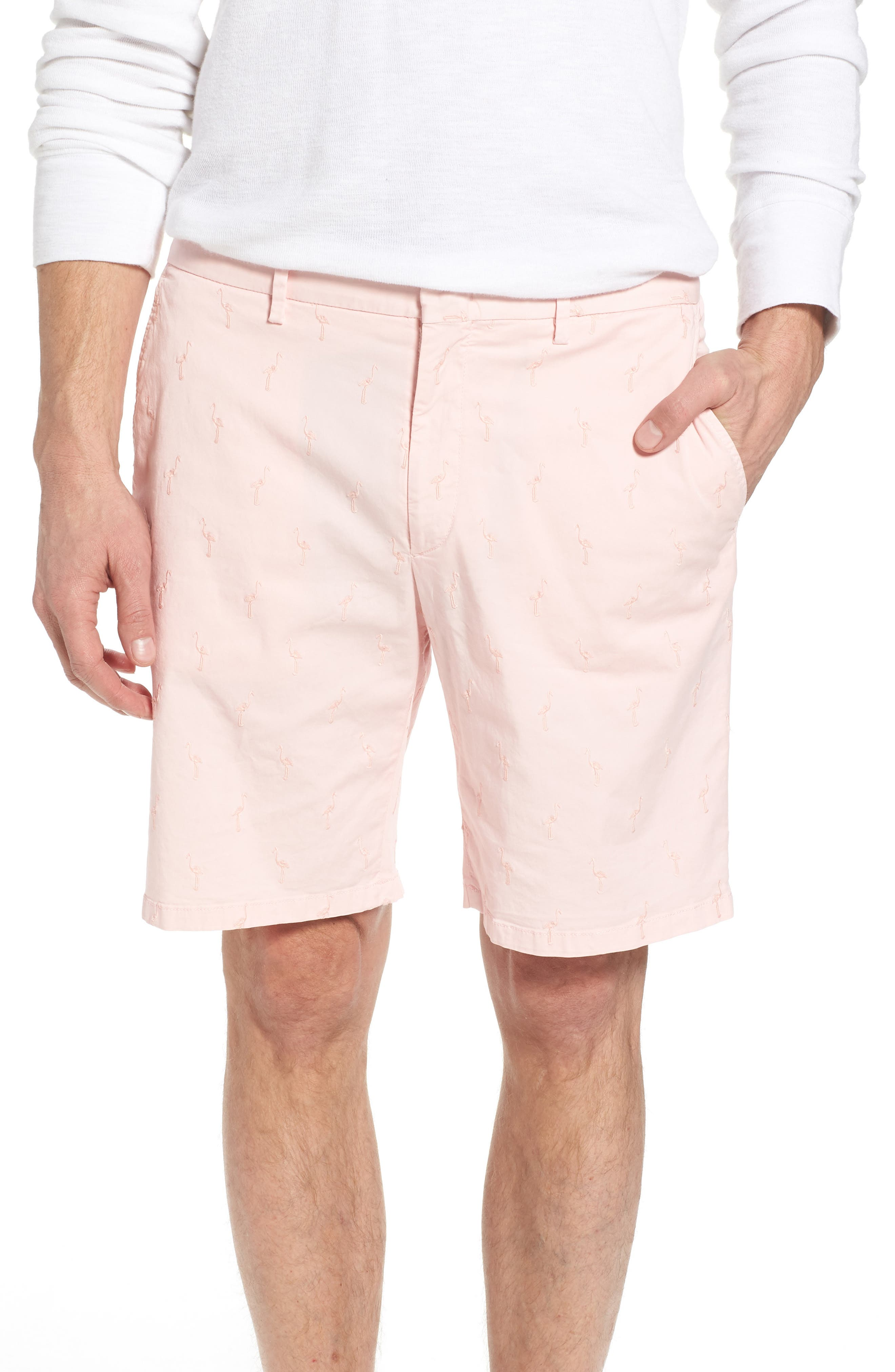 Embroidered Twill Shorts,                         Main,                         color, Pink Sand