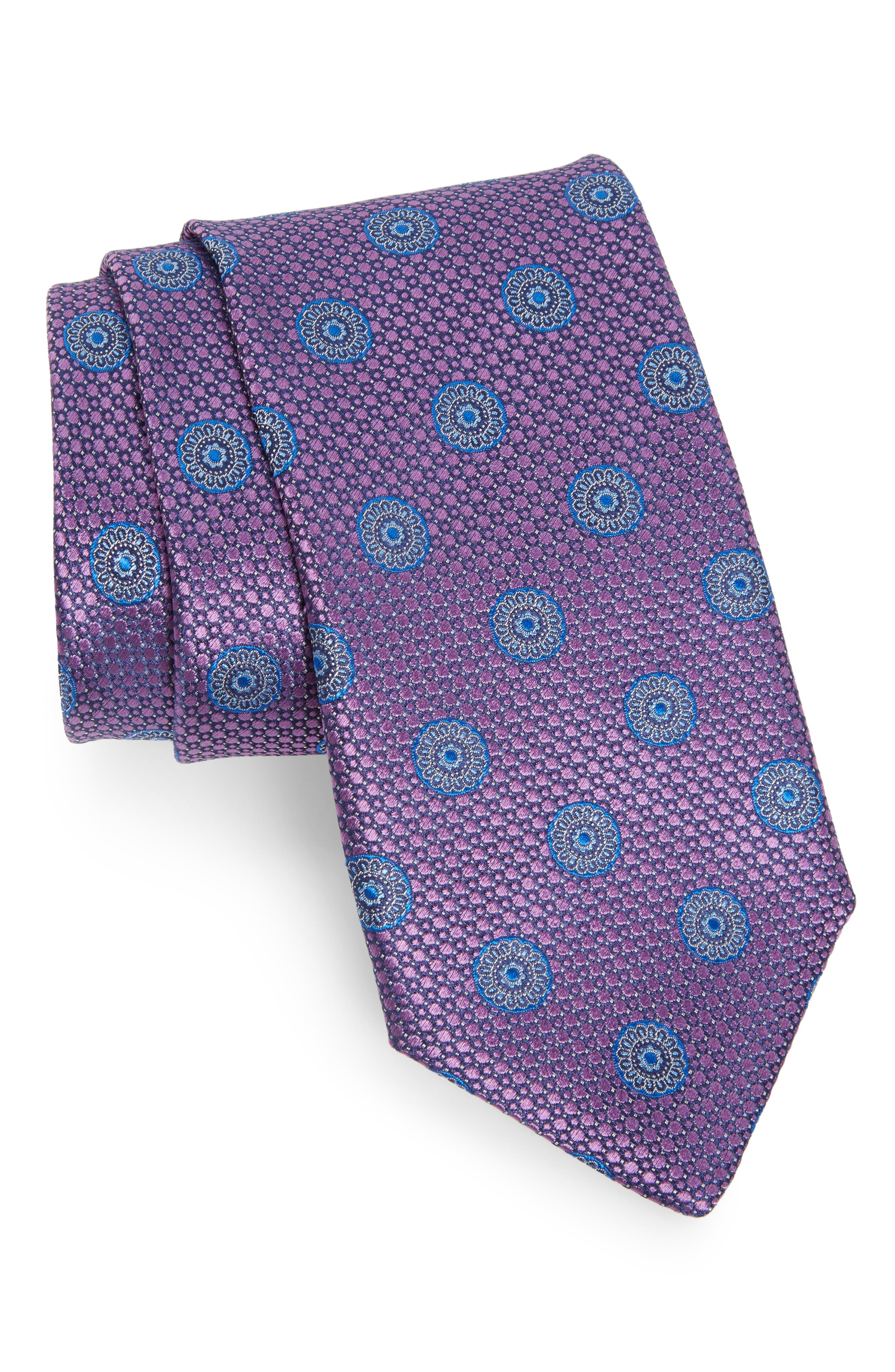 Medallion Silk Tie,                         Main,                         color, Purple