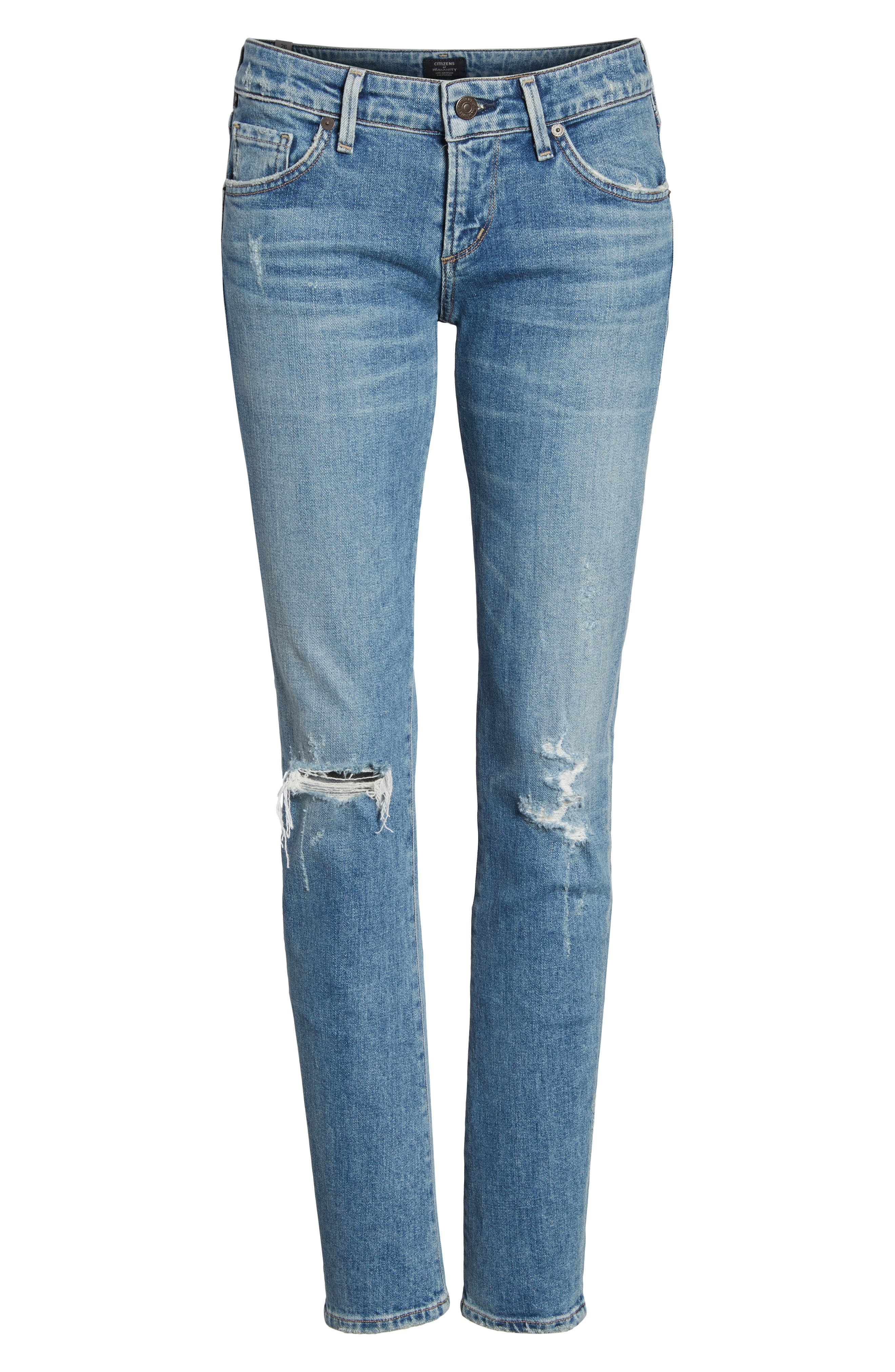 Racer Ripped Skinny Jeans,                             Alternate thumbnail 7, color,                             Distressed Encore