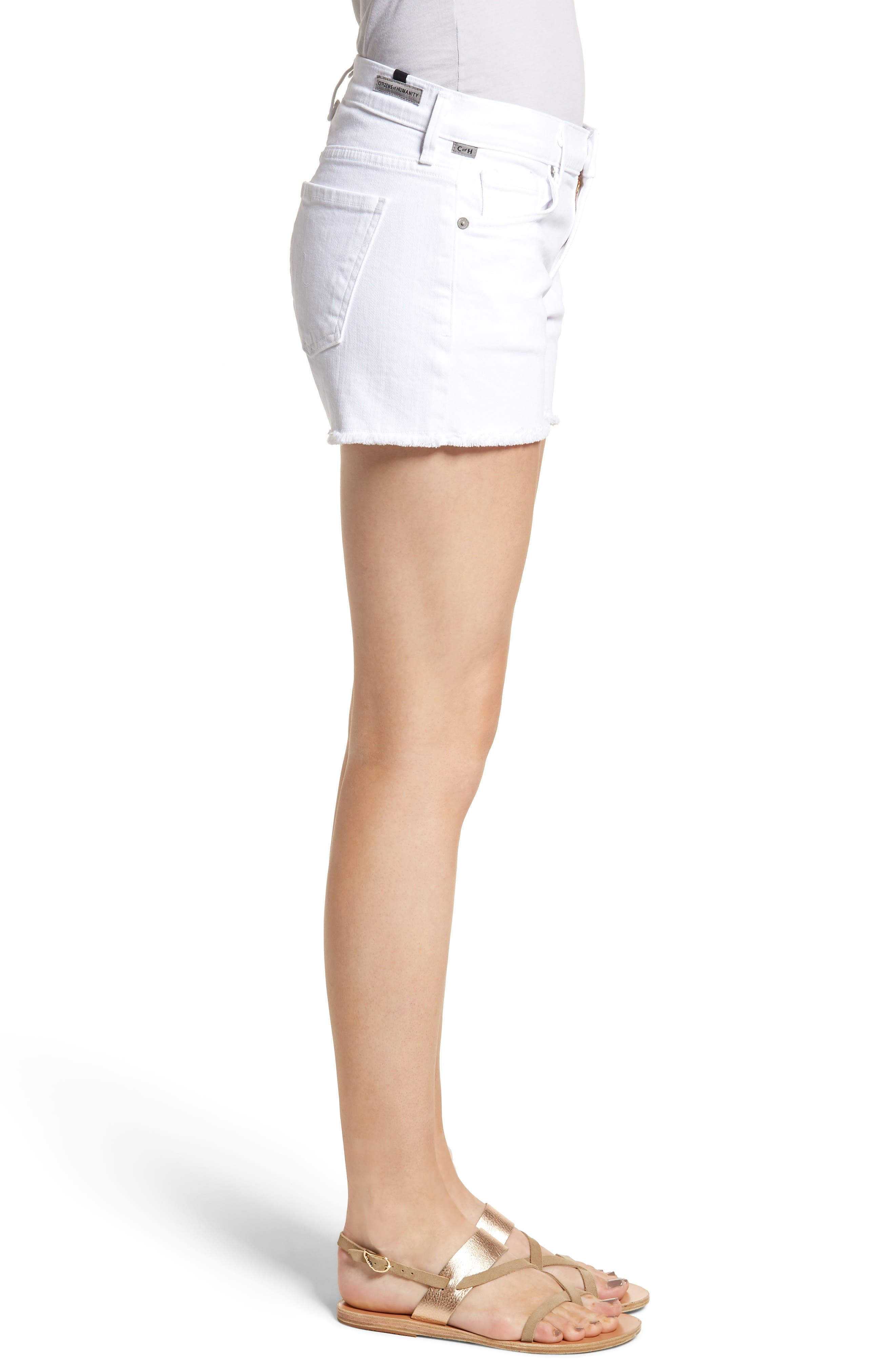 Ava Cutoff Denim Shorts,                             Alternate thumbnail 3, color,                             Optic White