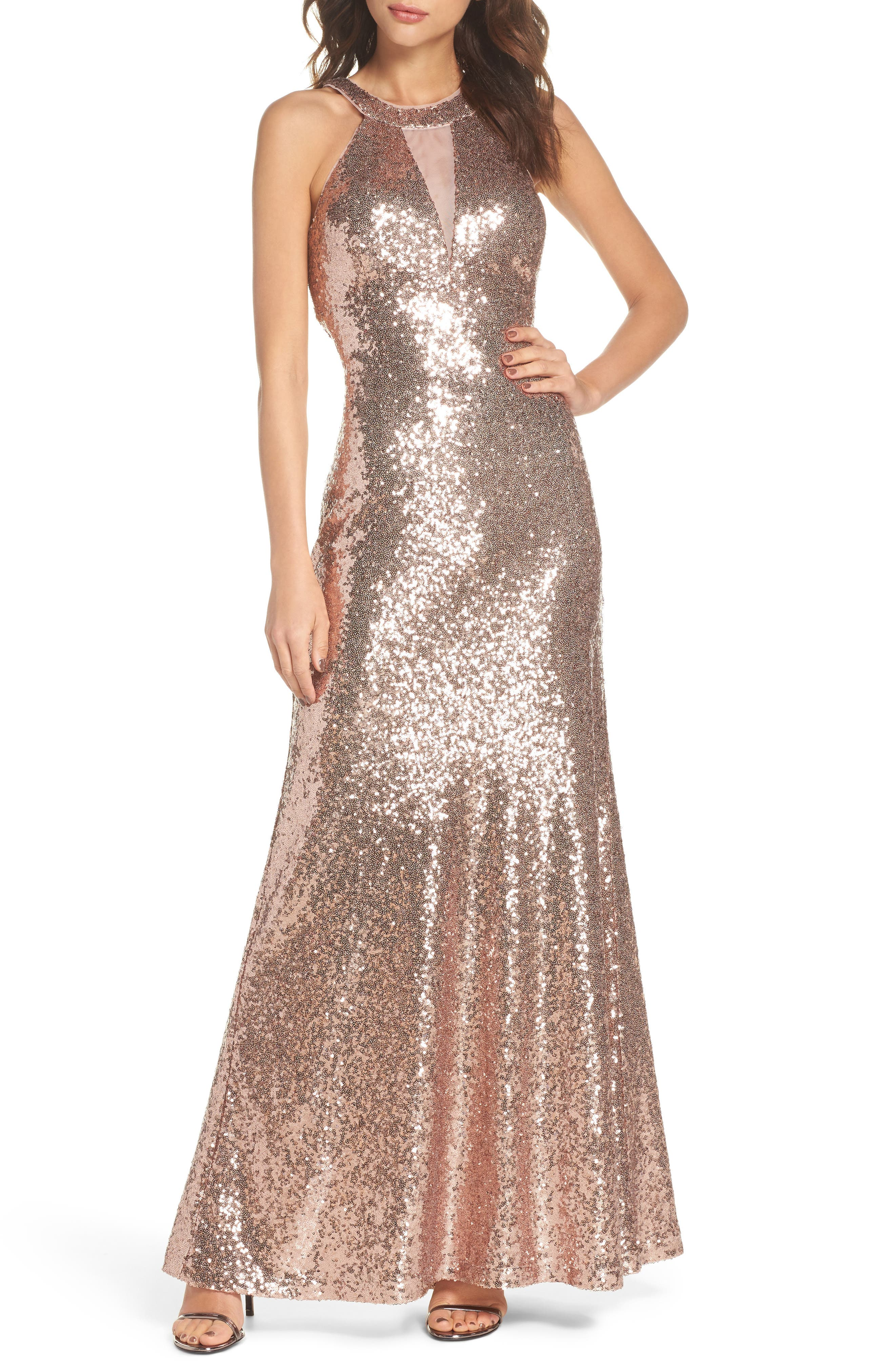 Sequin Halter Gown,                             Main thumbnail 1, color,                             Rose Gold