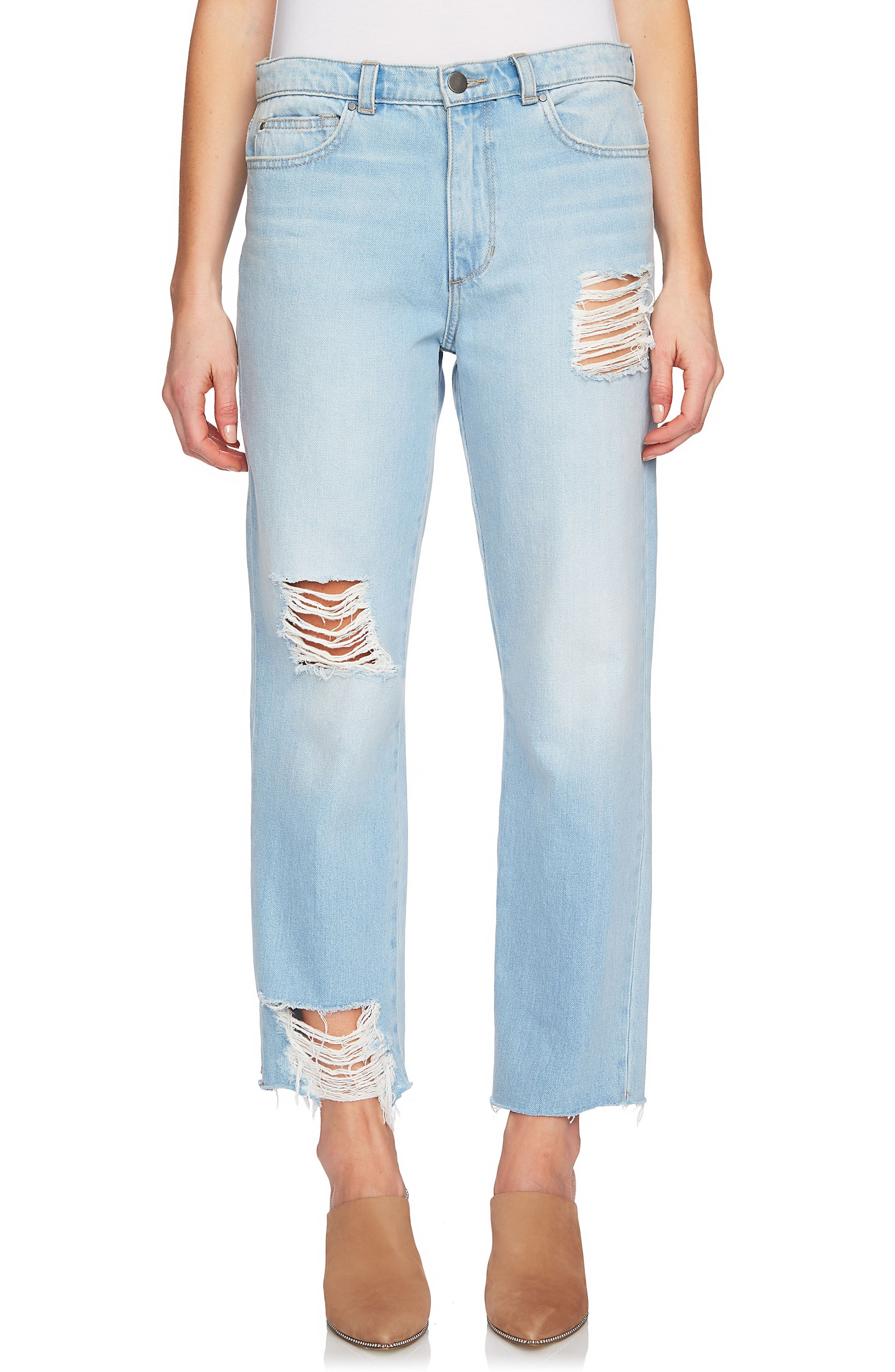 Ripped Straight Leg Jeans,                             Main thumbnail 1, color,                             Corsica Wash