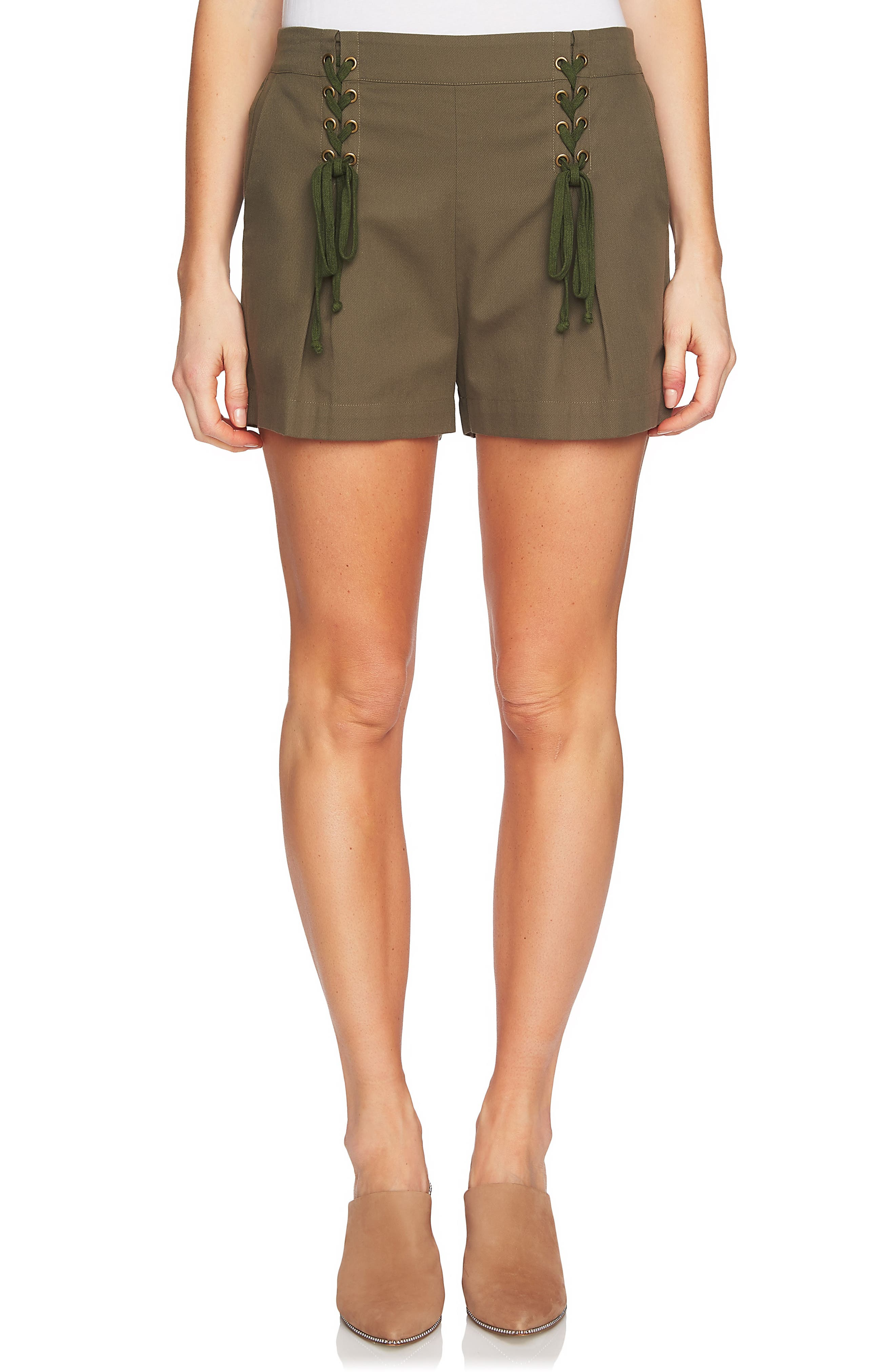 Lace-Up Detail Flat Front Shorts,                             Main thumbnail 1, color,                             311-Olive Tree
