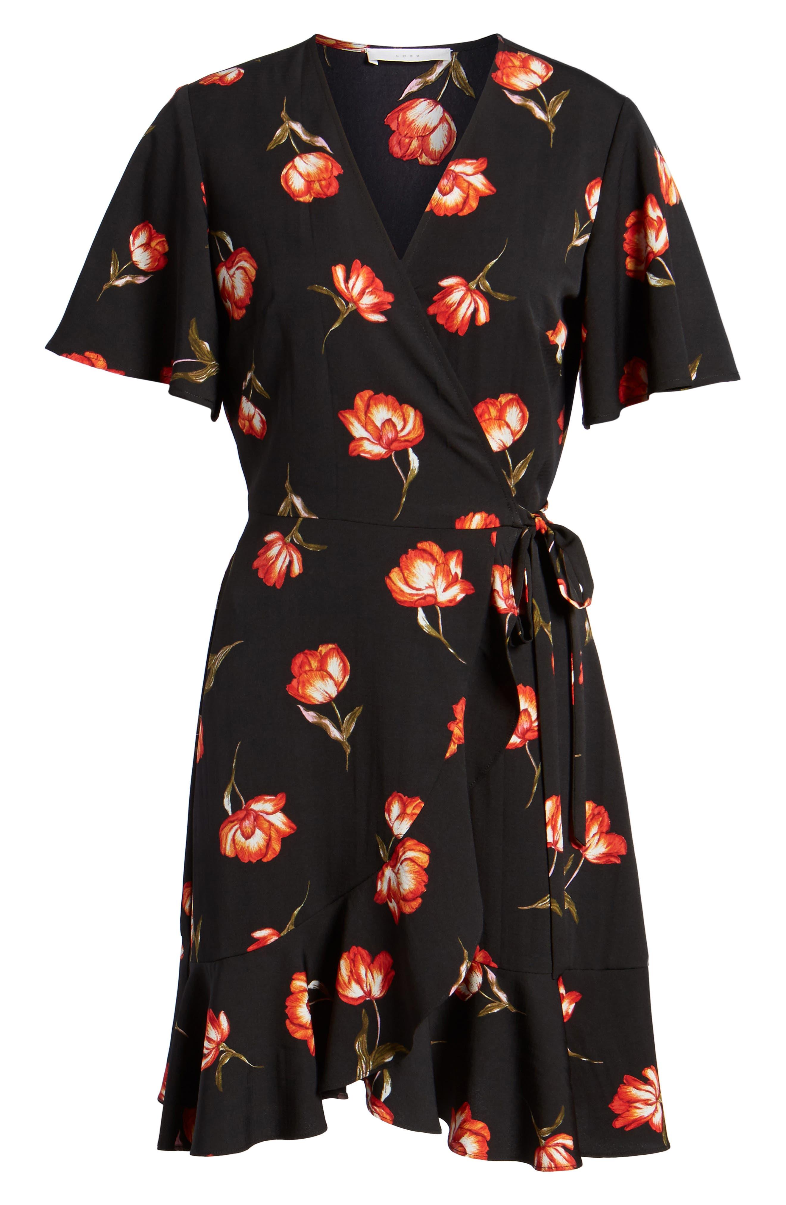 Lucy Floral Wrap Dress,                             Alternate thumbnail 6, color,                             Black Floral
