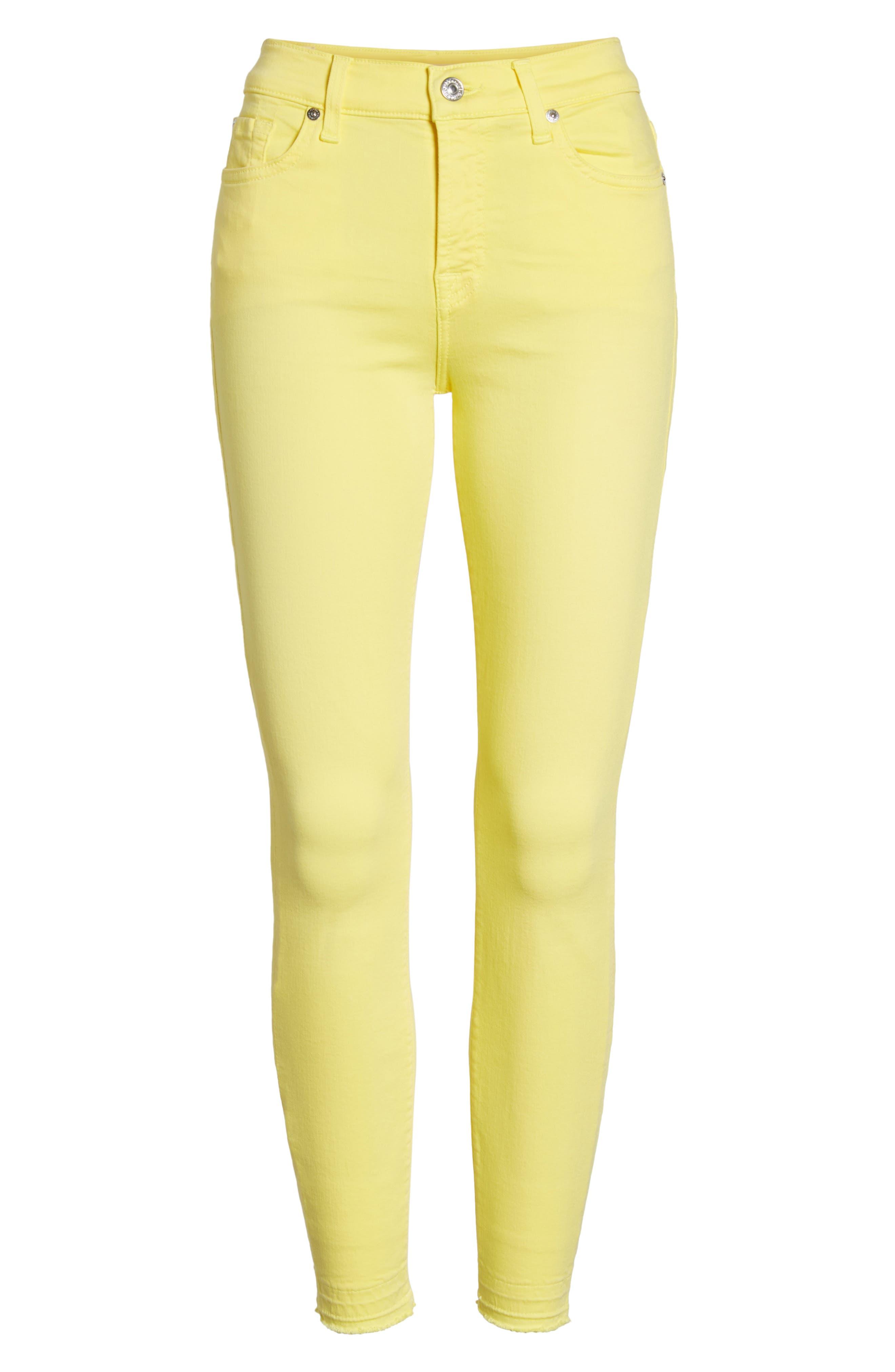 Released Hem Ankle Skinny Jeans,                             Alternate thumbnail 7, color,                             Vivid Yellow