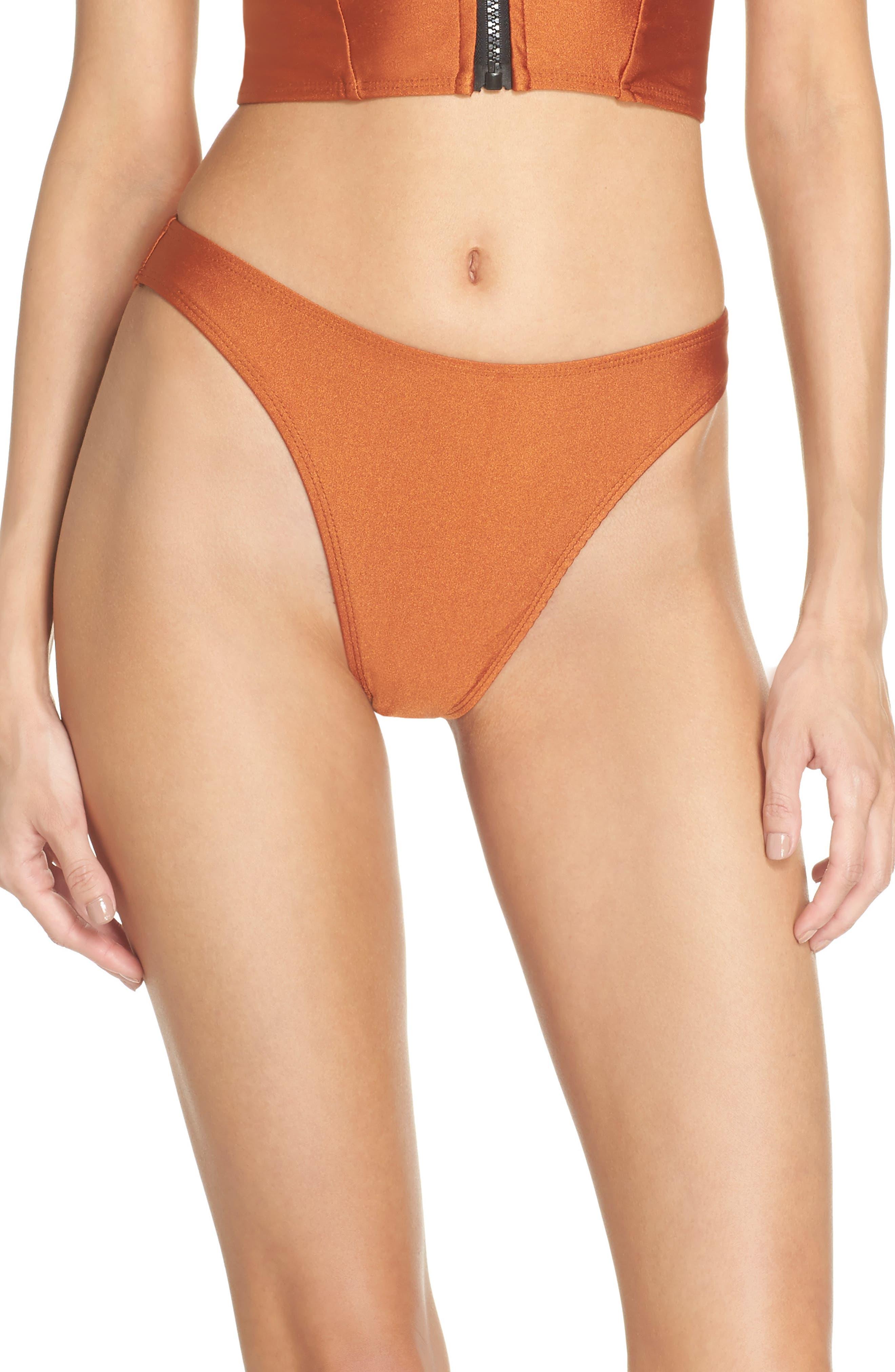 Lindsey Bikini Bottoms,                         Main,                         color, Ginger Orange