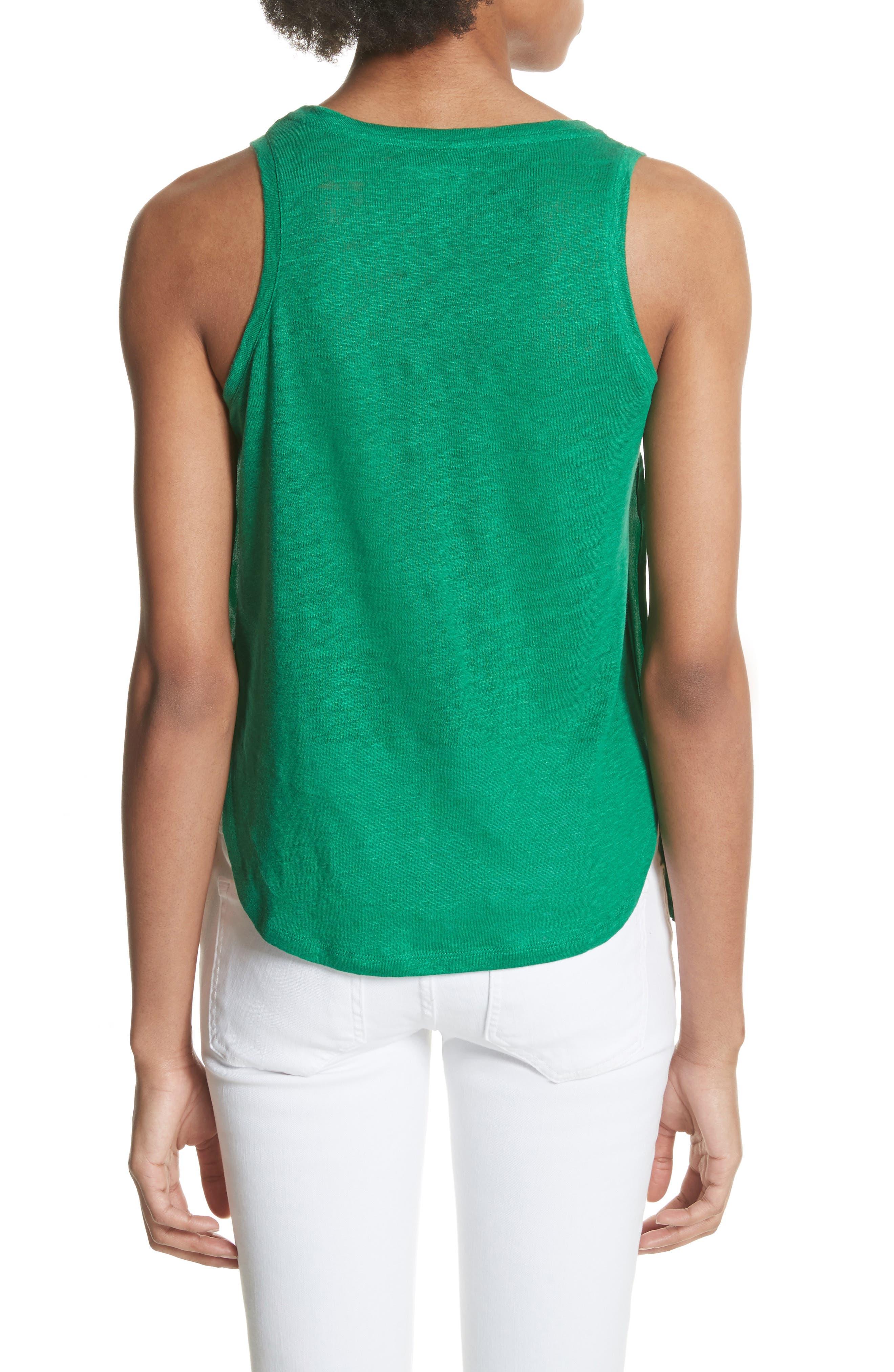 Silk & Linen Tank,                             Alternate thumbnail 2, color,                             Green