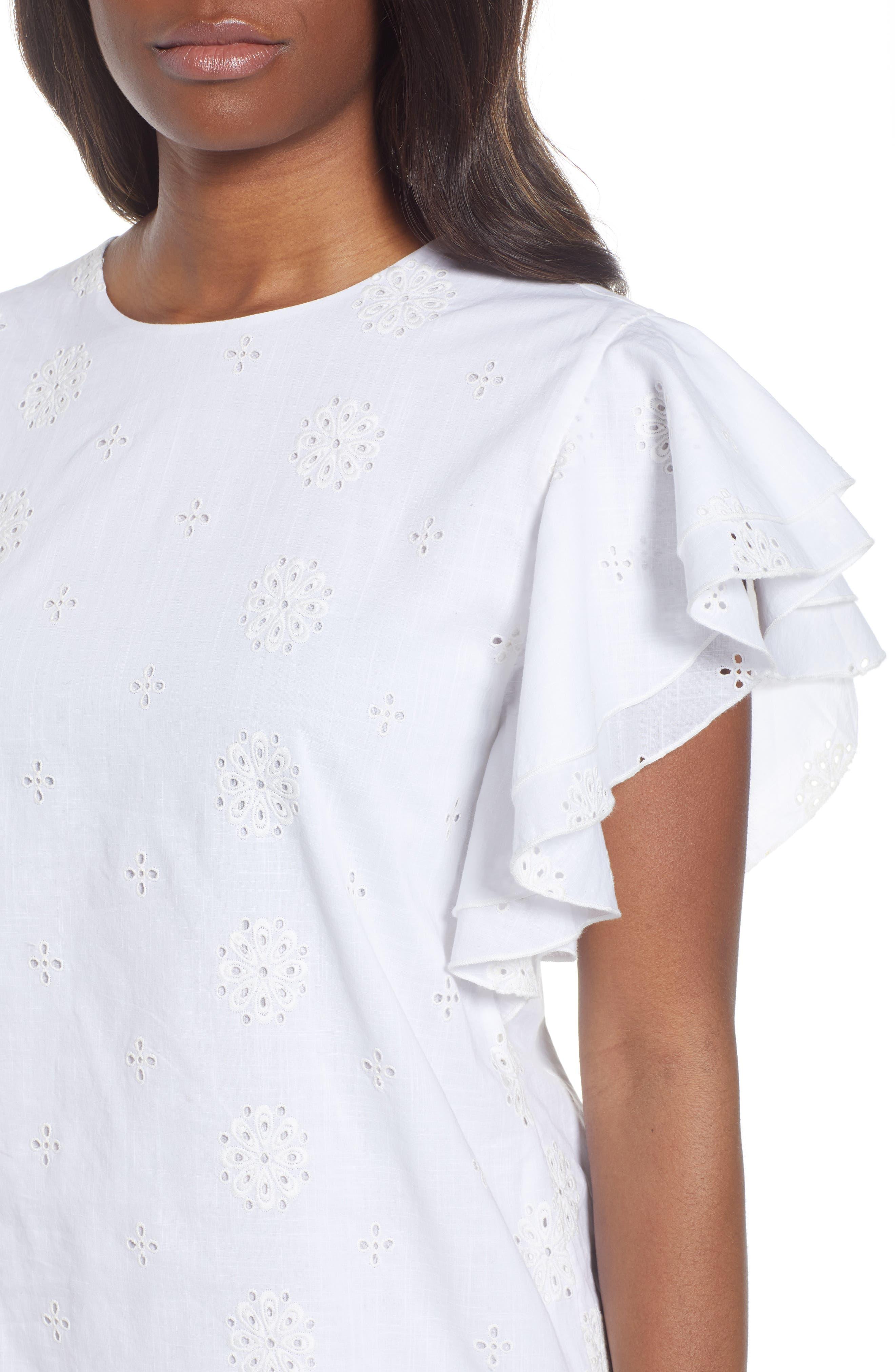 Eyelet Flutter Sleeve Cotton Dress,                             Alternate thumbnail 4, color,                             White Cap