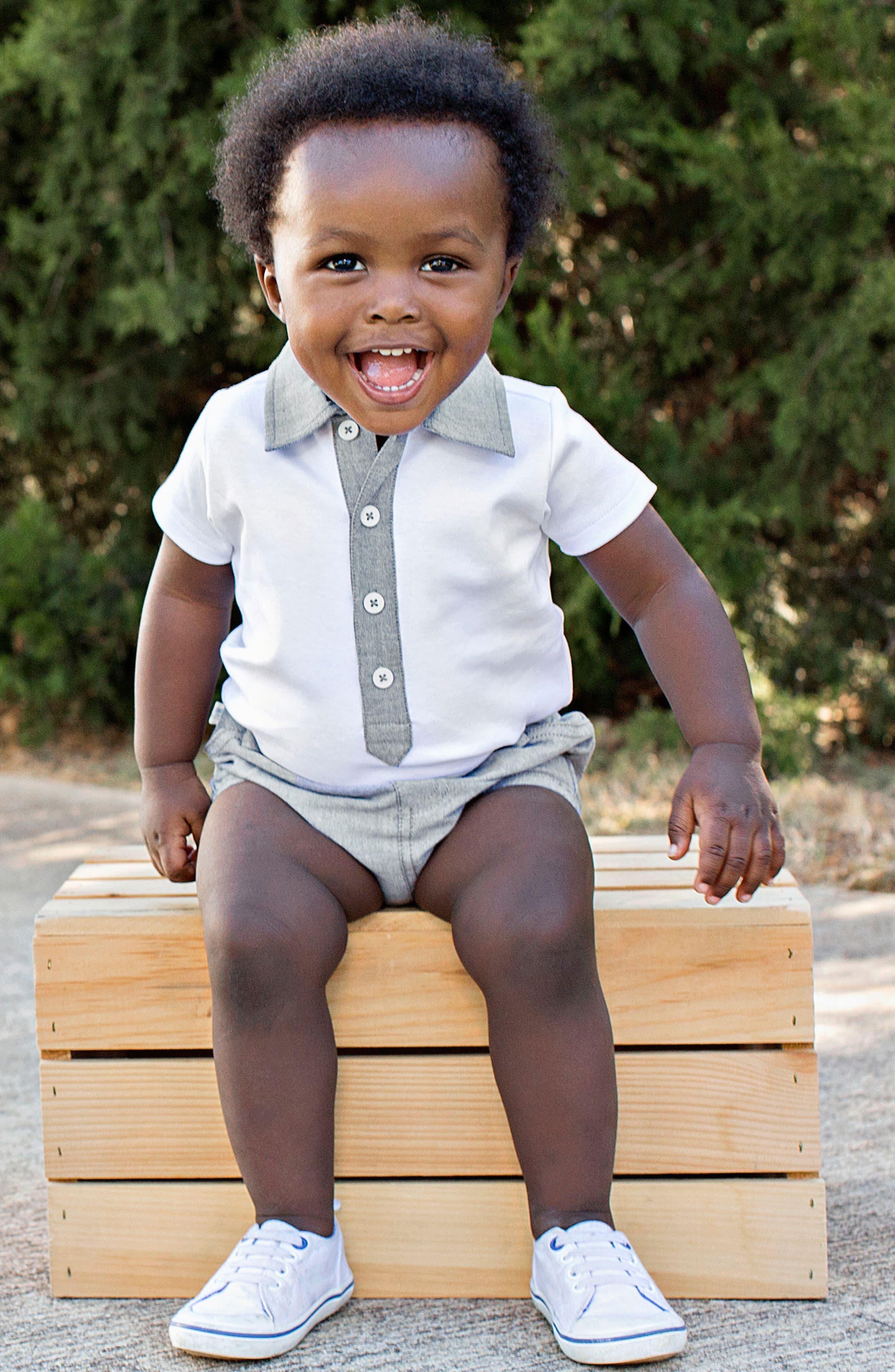 Alternate Image 2  - RuggedButts Polo Bodysuit & Chambray Shorts Set (Baby Boys)