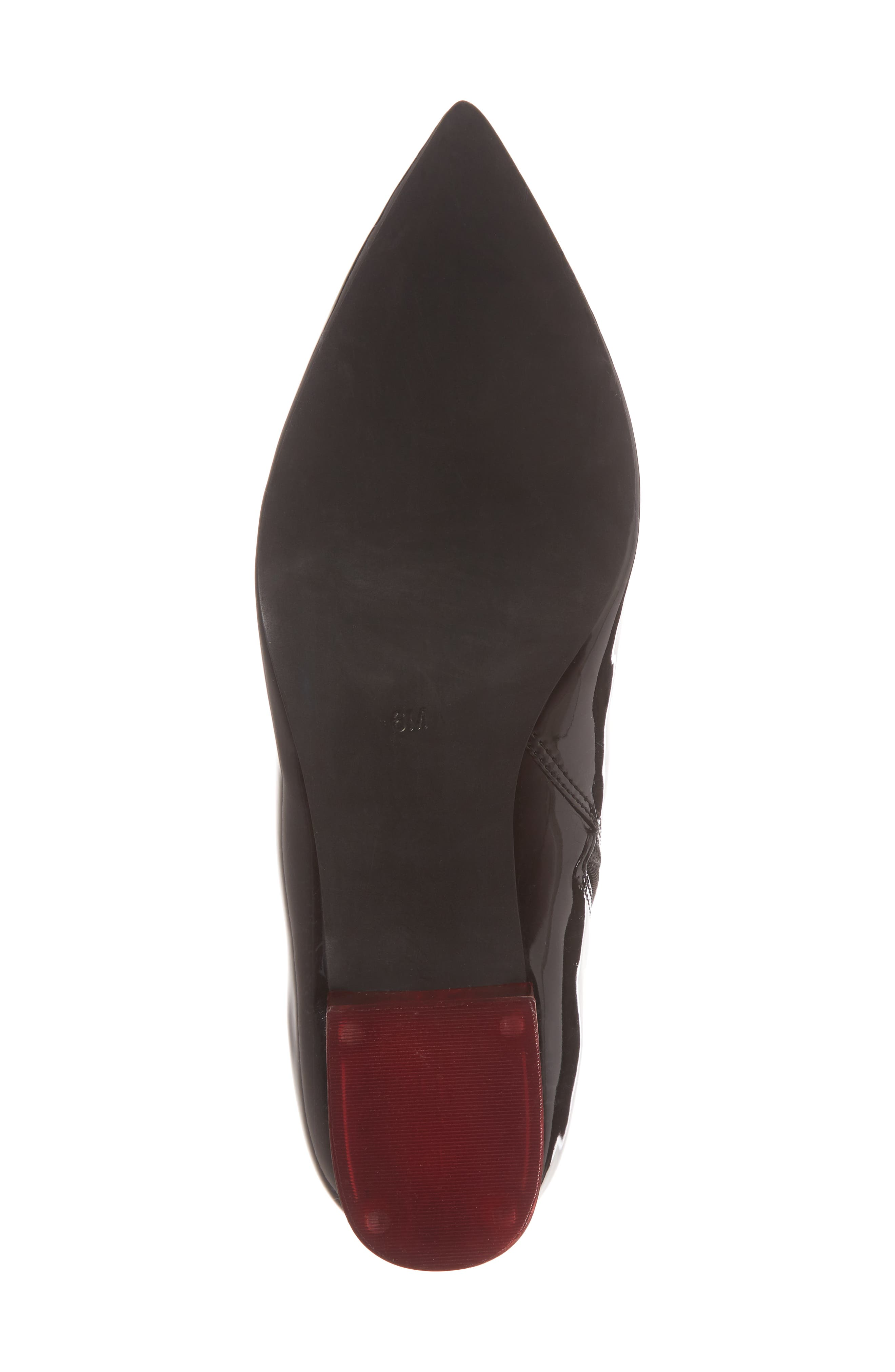 Luminous Statement Heel Bootie,                             Alternate thumbnail 6, color,                             Black/ Red Patent Leather