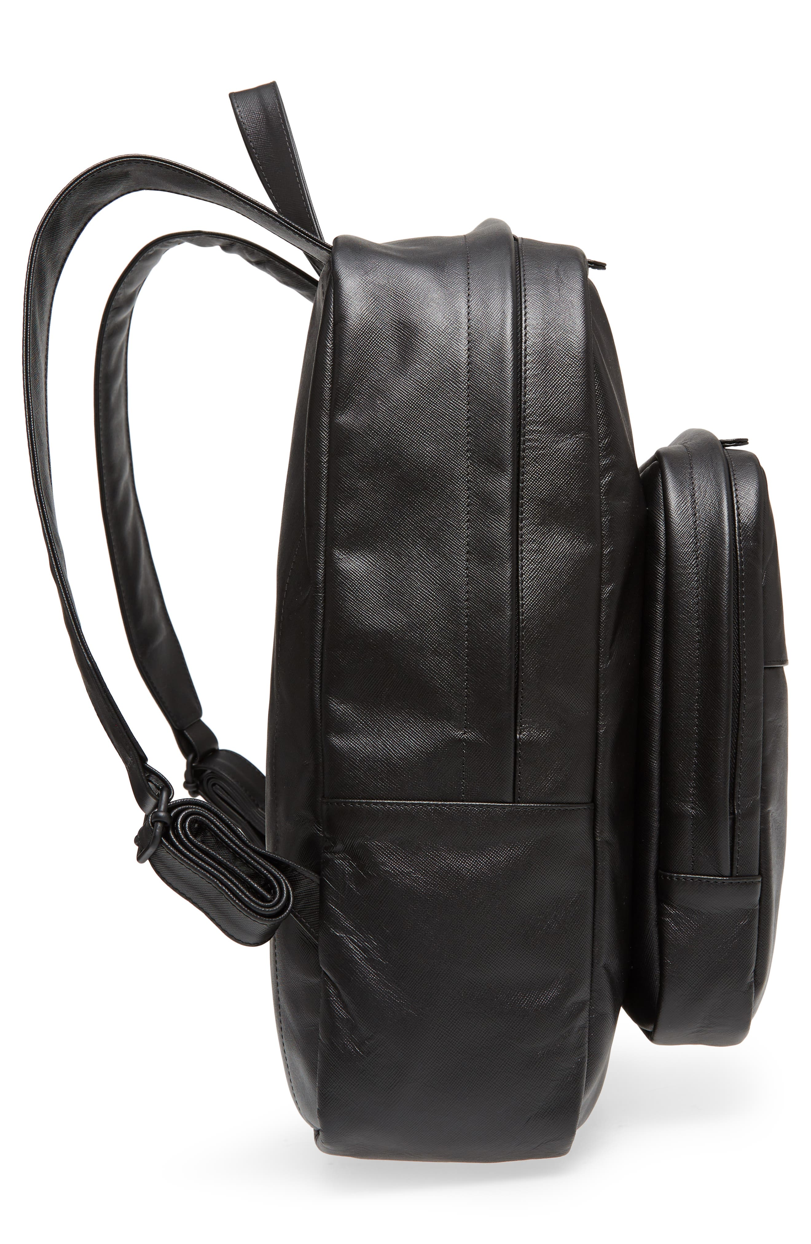 Saffiano Leather Backpack,                             Alternate thumbnail 5, color,                             Black