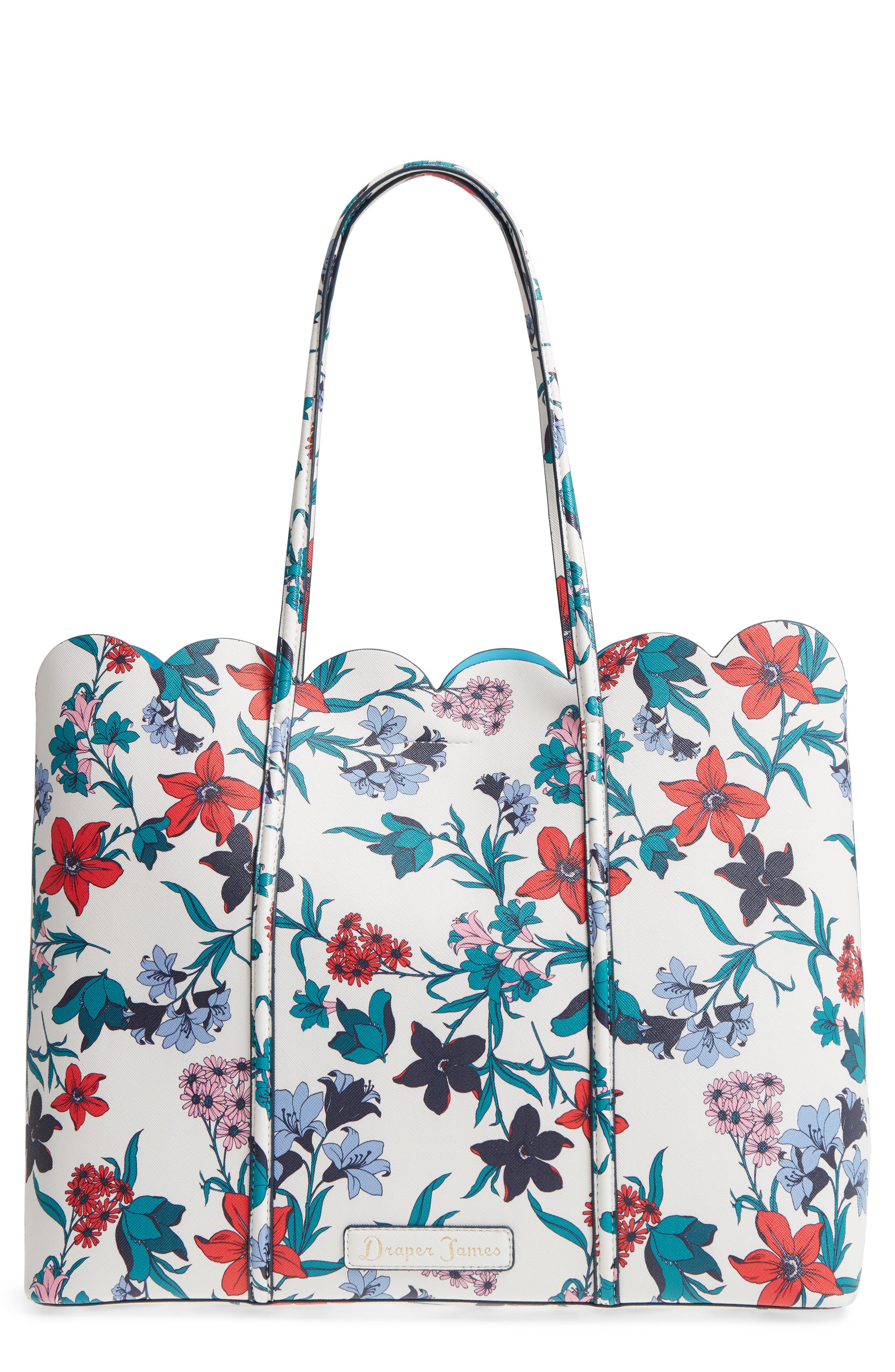 Elliston Floral Faux Leather Tote,                         Main,                         color, Willow White
