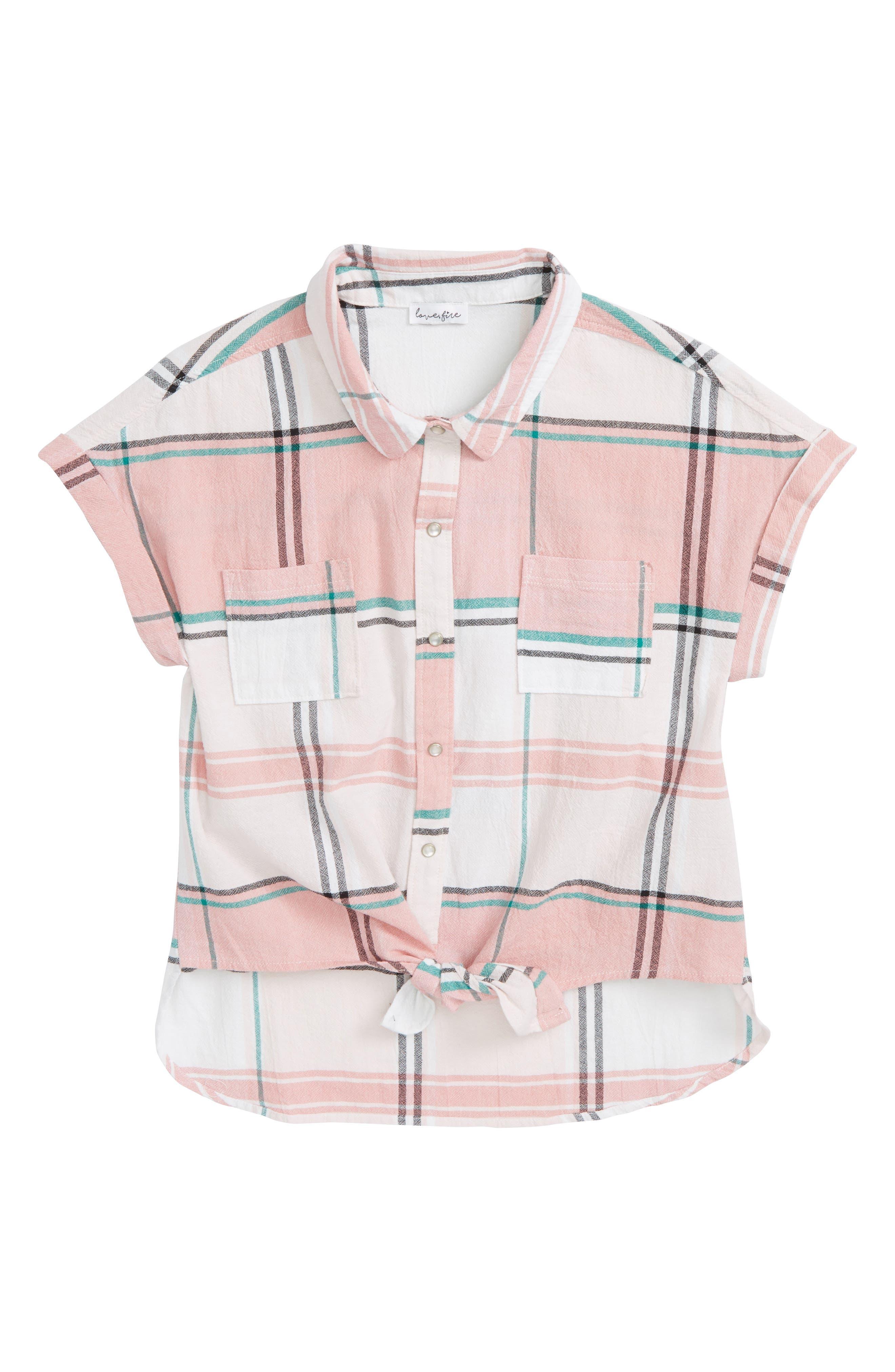 Tie Front Plaid Shirt,                             Main thumbnail 1, color,                             Coral Combo