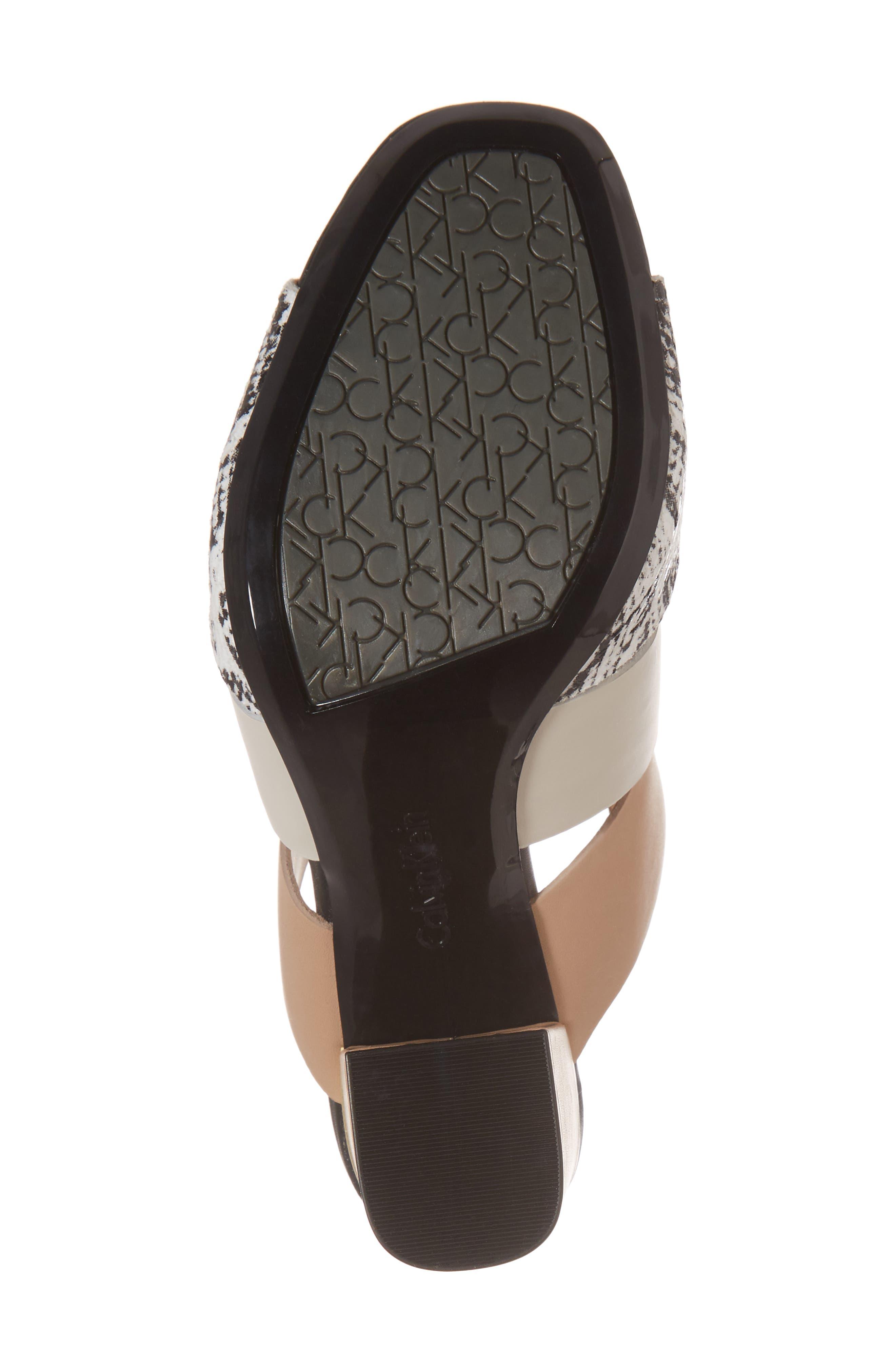 Caran Block Heel Sandal,                             Alternate thumbnail 6, color,                             Black/ White Leather