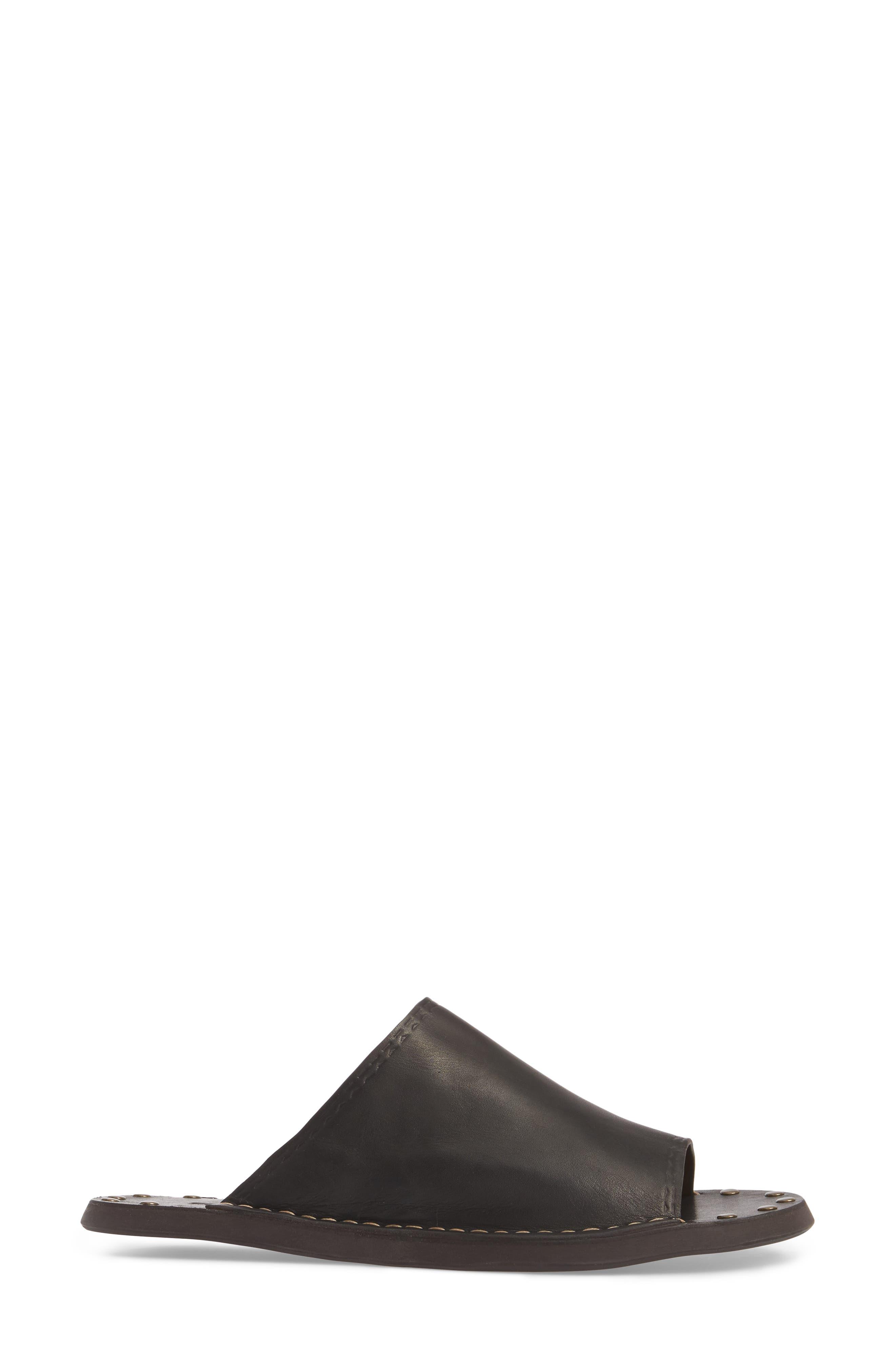 Leila Slide Sandal,                             Alternate thumbnail 3, color,                             Black