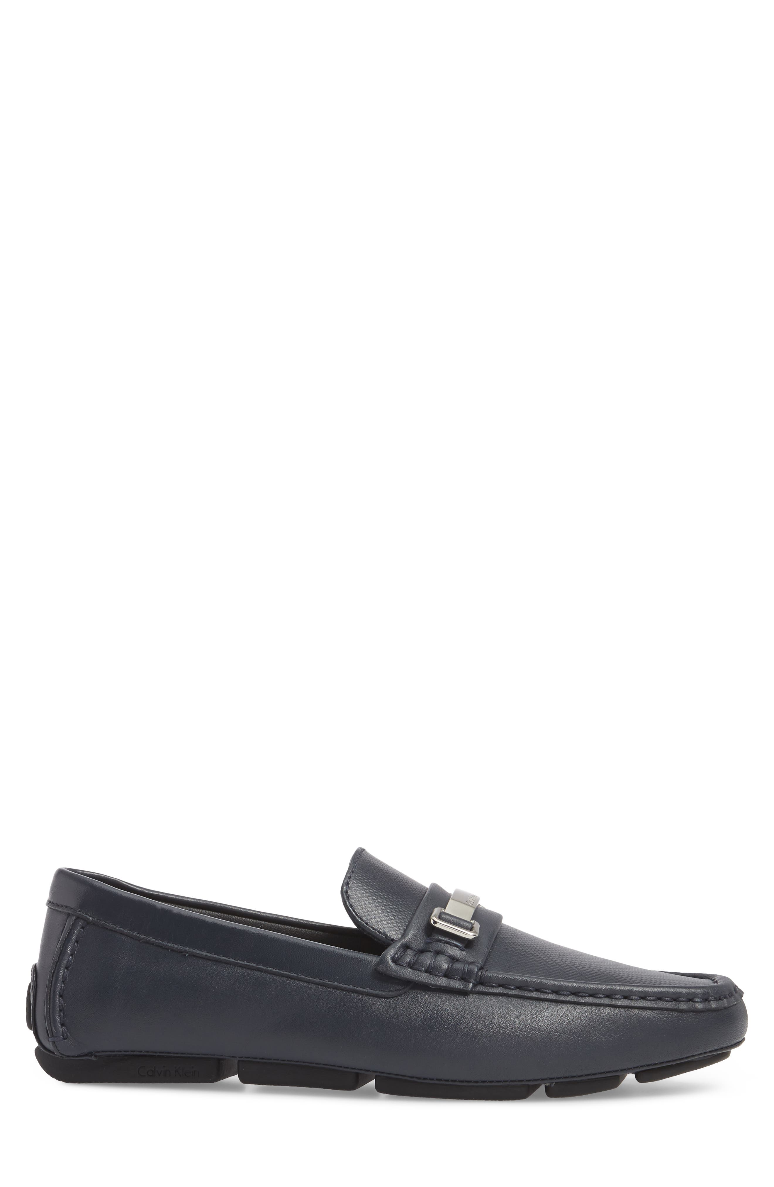 Maddix Textured Driving Moccasin,                             Alternate thumbnail 3, color,                             Dark Navy Leather