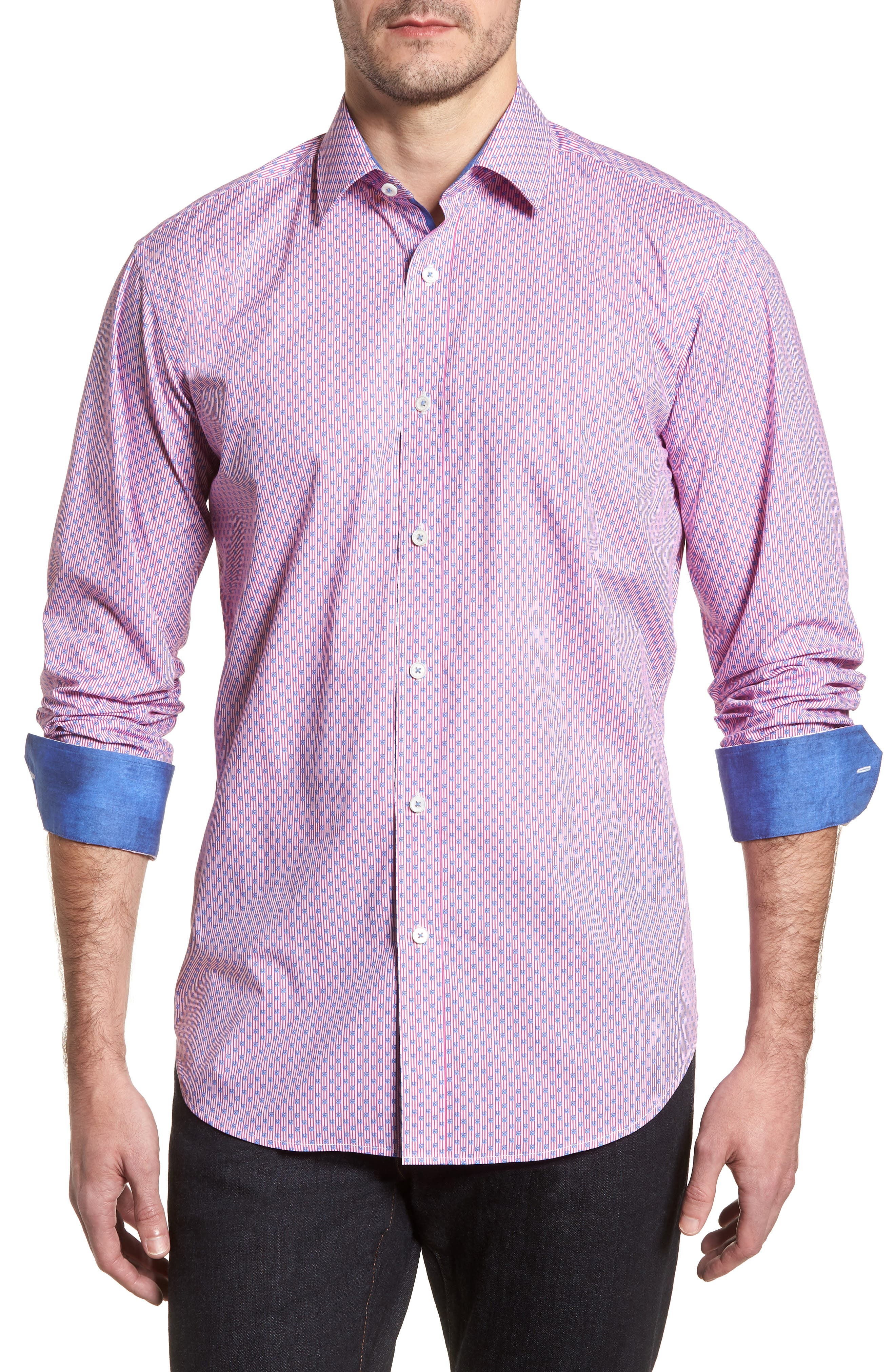 Flowers & Pinstripes Shaped Fit Sport Shirt,                         Main,                         color, Pink