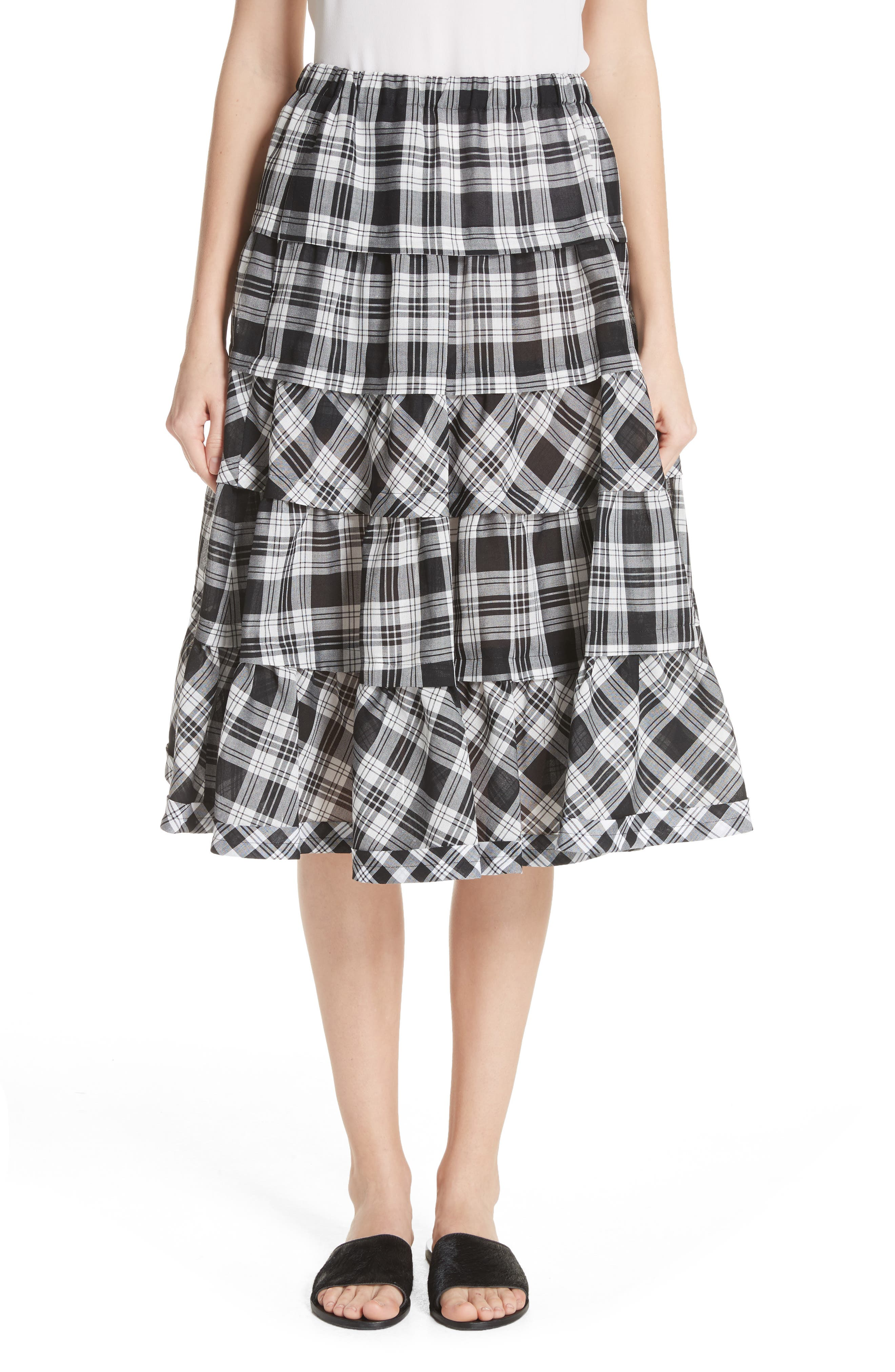 Tiered Plaid Skirt,                             Main thumbnail 1, color,                             Largexsmall