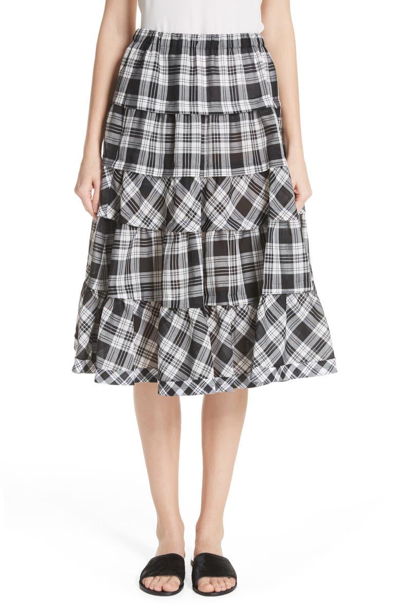 Tiered Plaid Skirt