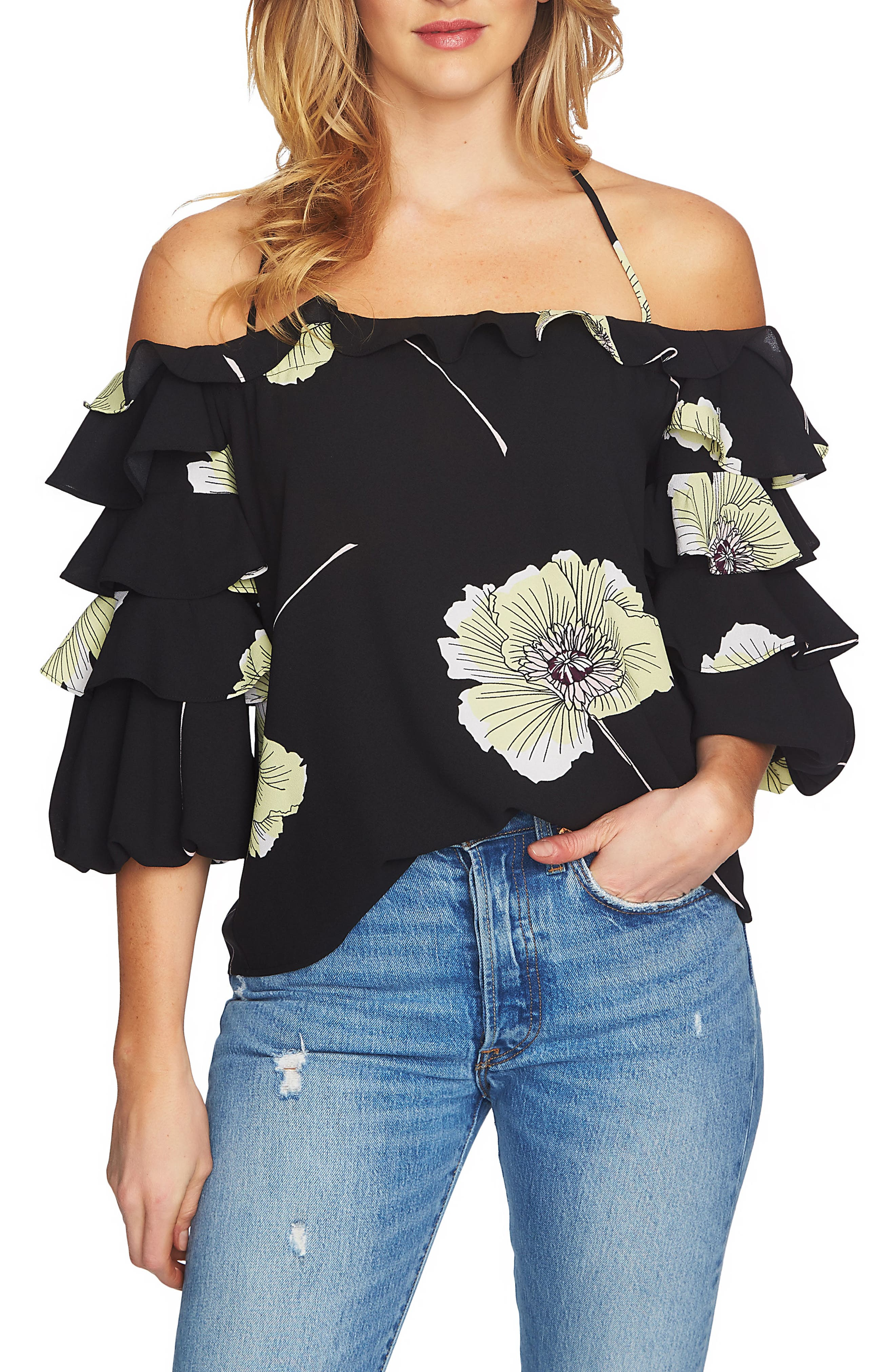 Tiered Sleeve Off the Shoulder Top,                         Main,                         color, 060-Rich Black