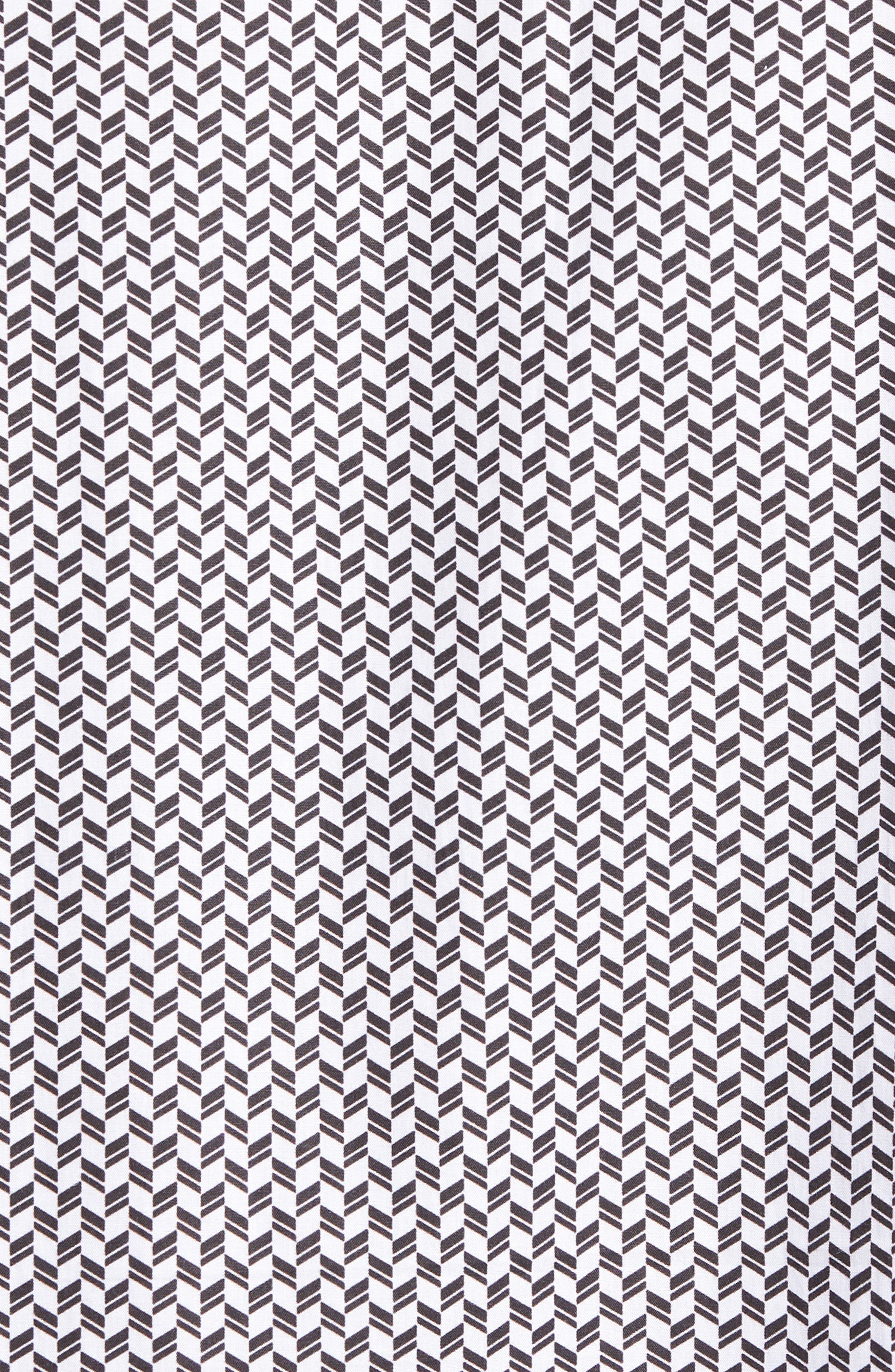 Shaped Fit Chevron Print Sport Shirt,                             Alternate thumbnail 5, color,                             Black