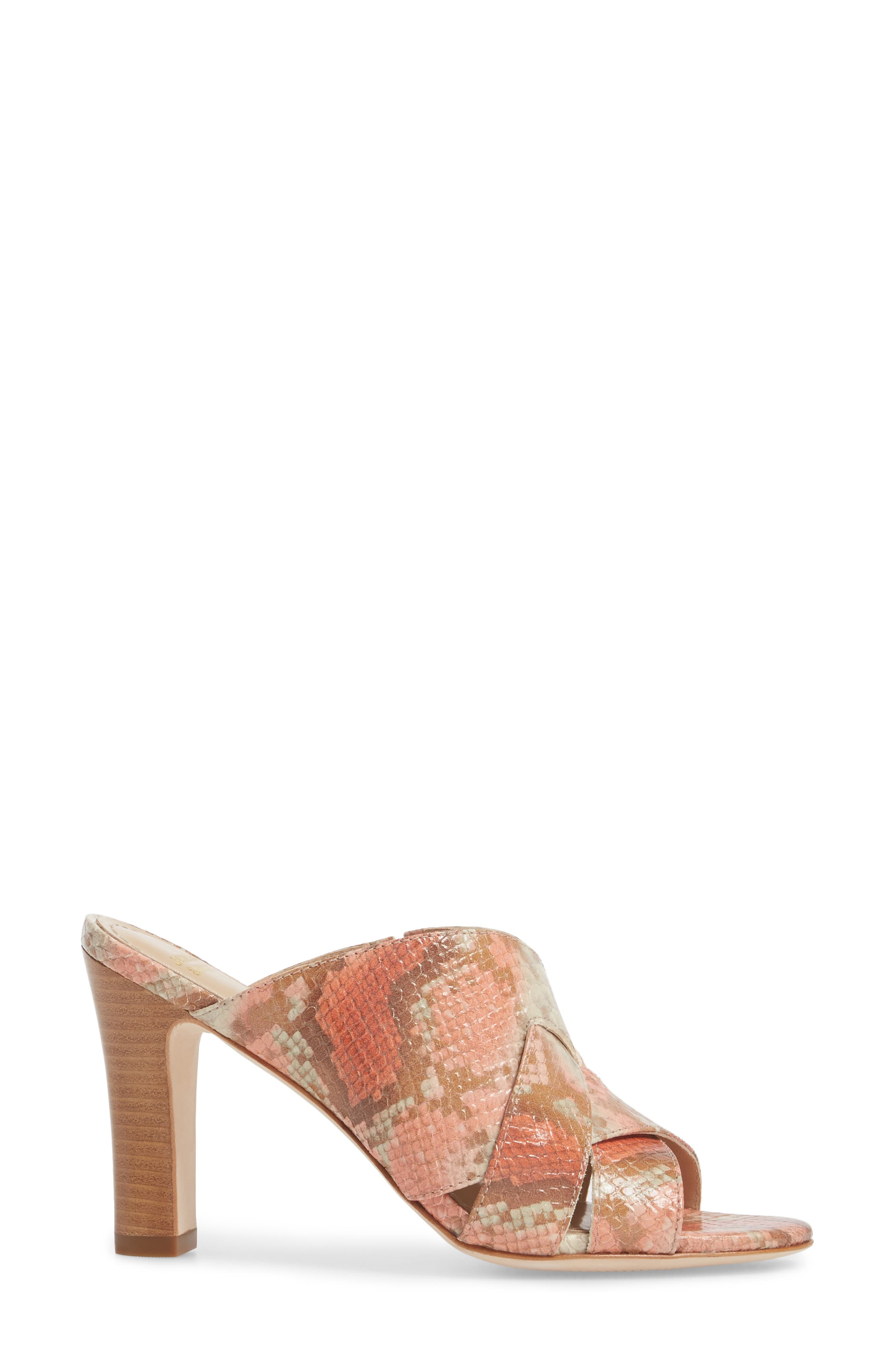 Carrie Mule Sandal,                             Alternate thumbnail 3, color,                             Coral Leather