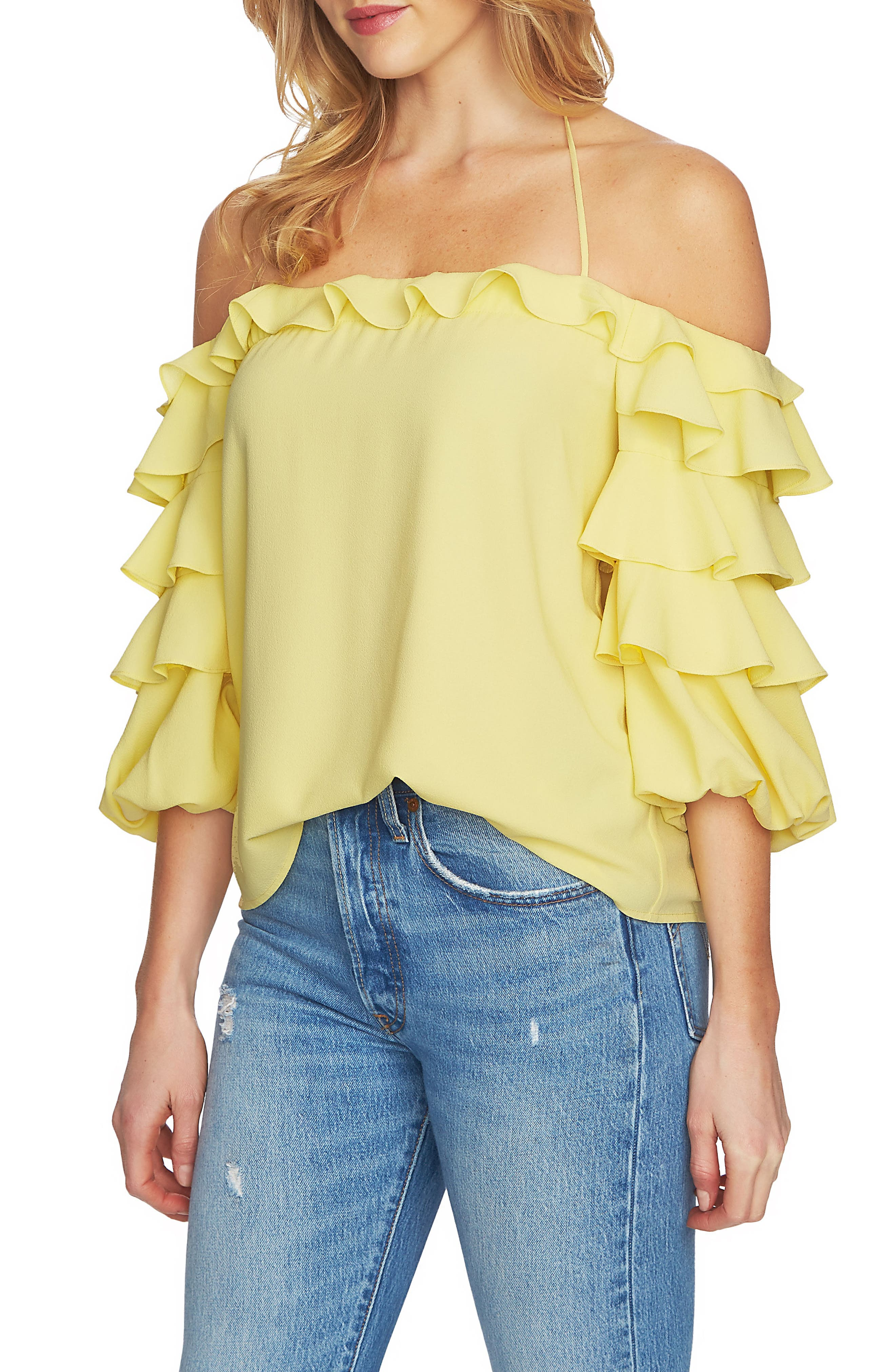 1.STATE Tiered Ruffle Sleeve Off the Shoulder Top