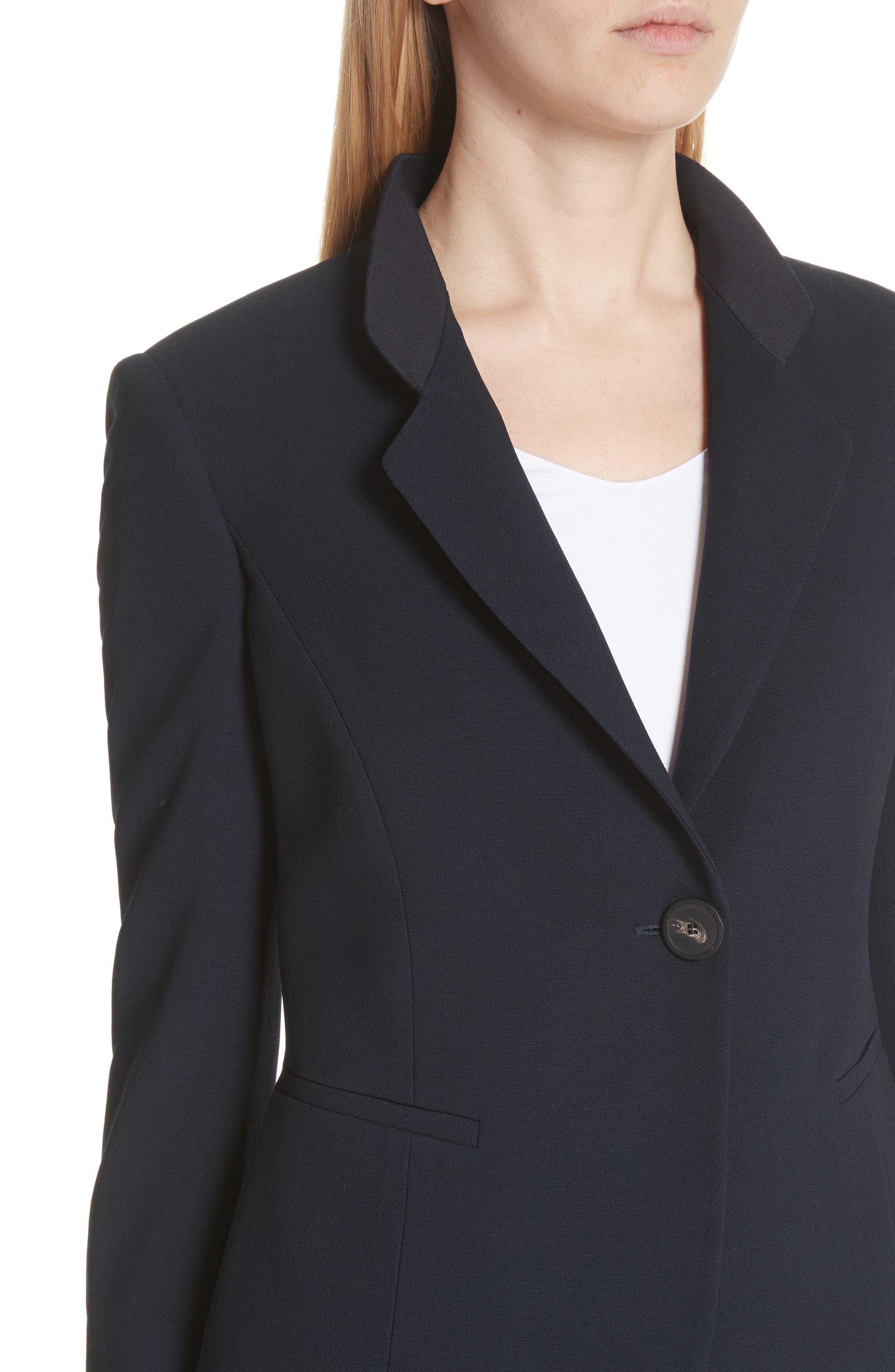 Pop Collar Stretch Wool Crepe Blazer,                             Alternate thumbnail 4, color,                             Navy