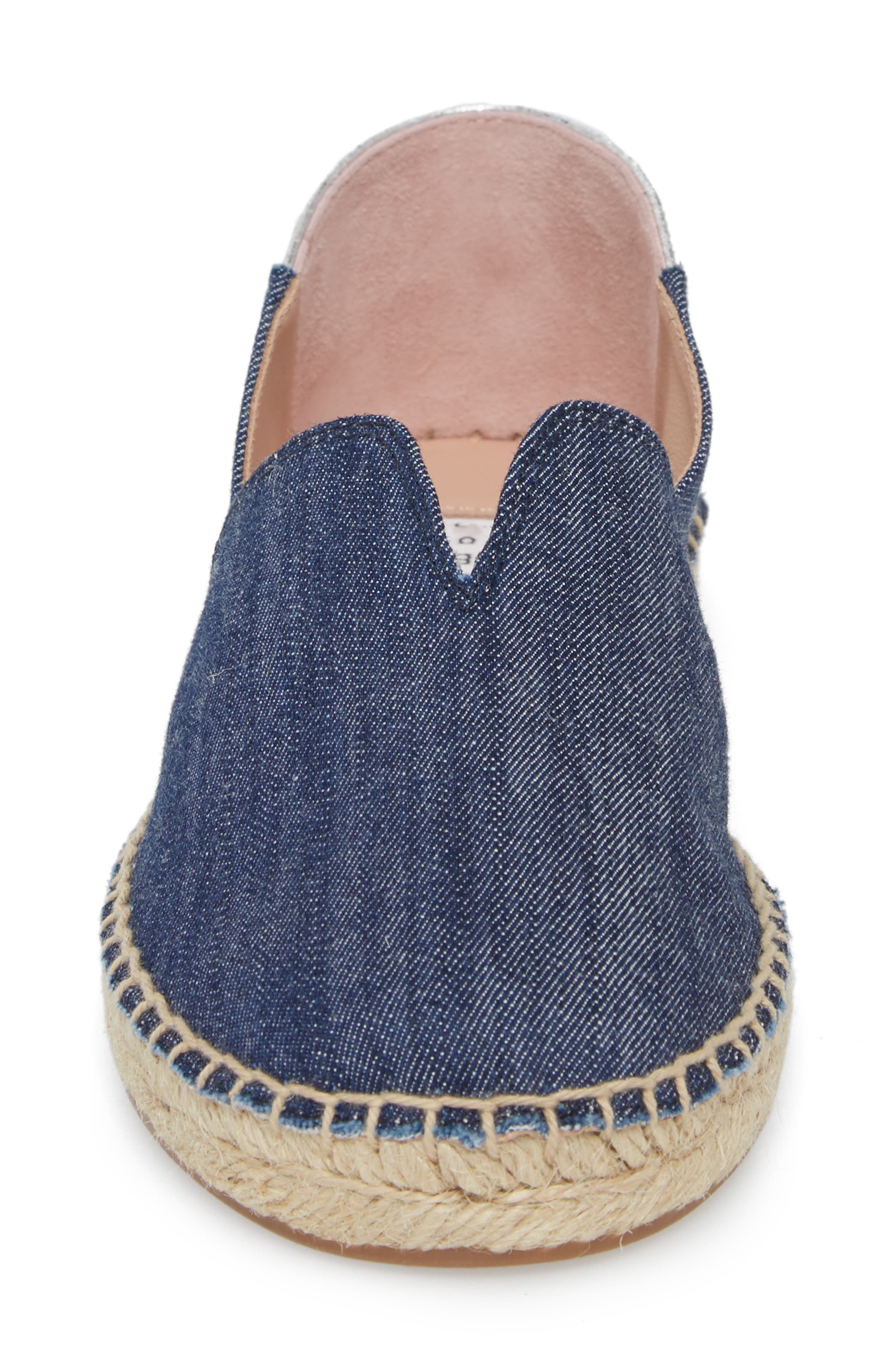 Ilene Slip-On Flat,                             Alternate thumbnail 4, color,                             Denim Fabric