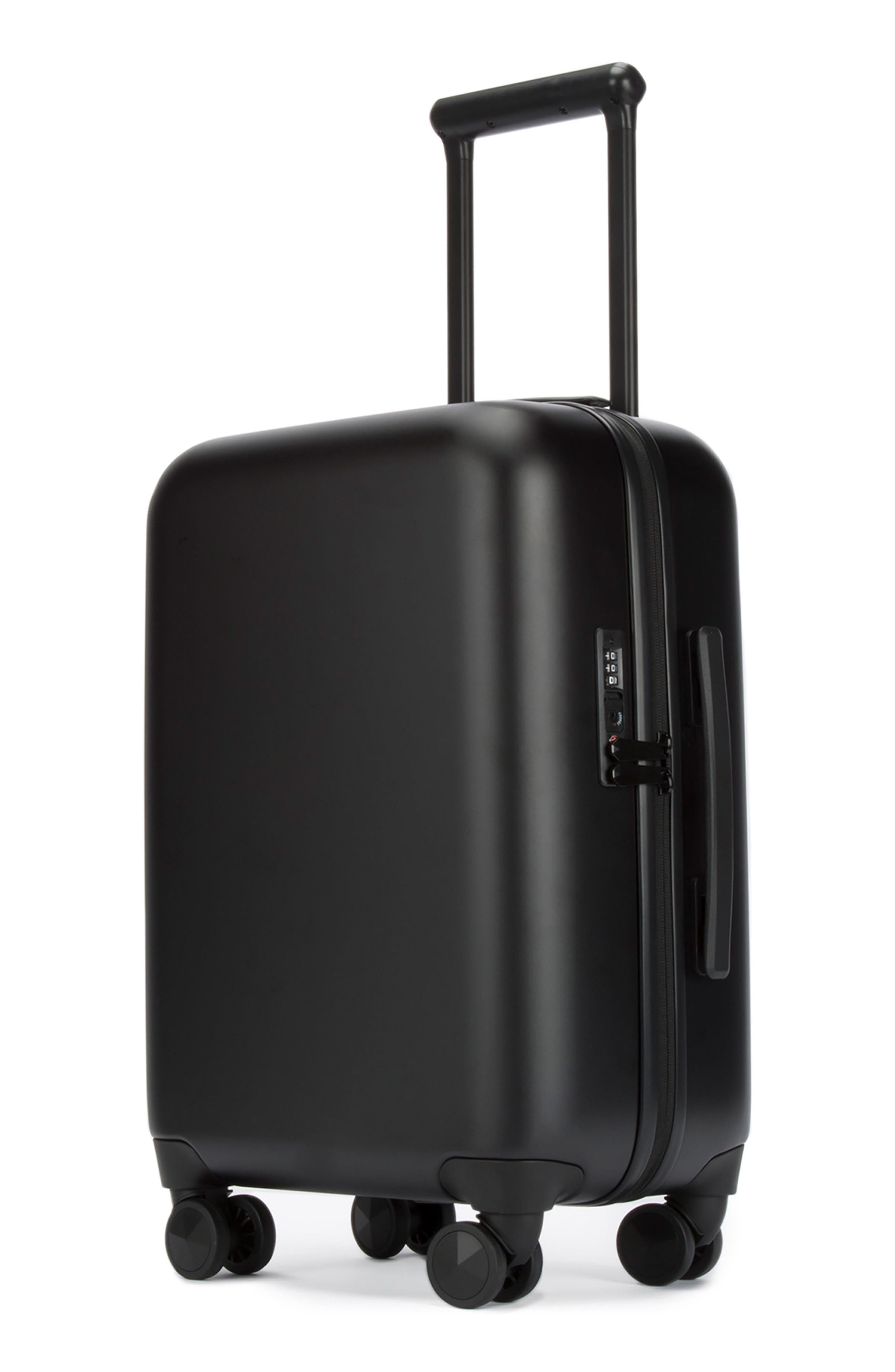 So Connected 22-Inch Charging Spinner Suitcase,                             Main thumbnail 1, color,                             Matte Black