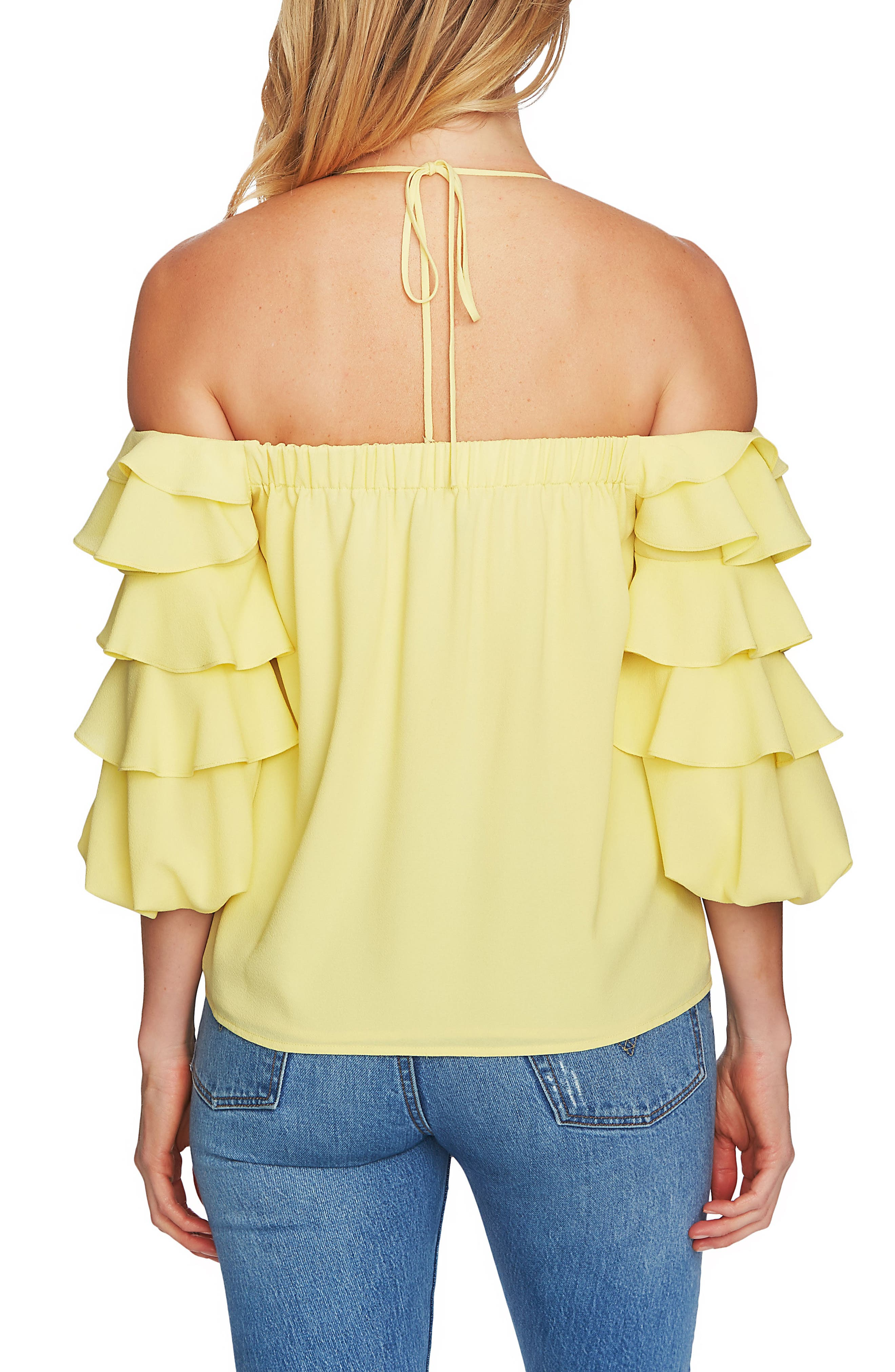 Alternate Image 2  - 1.STATE Tiered Ruffle Sleeve Off the Shoulder Top