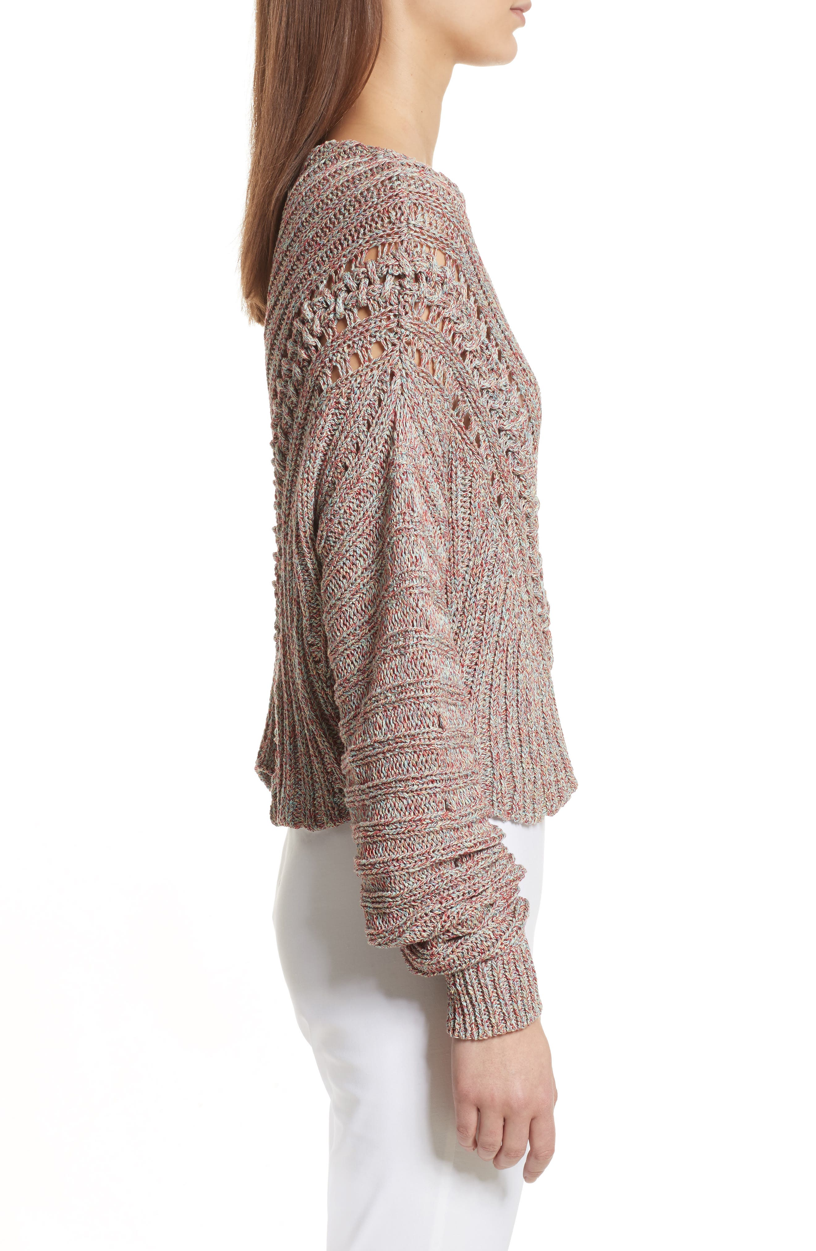 Roman Pointelle Ribbed Sweater,                             Alternate thumbnail 4, color,                             Pink