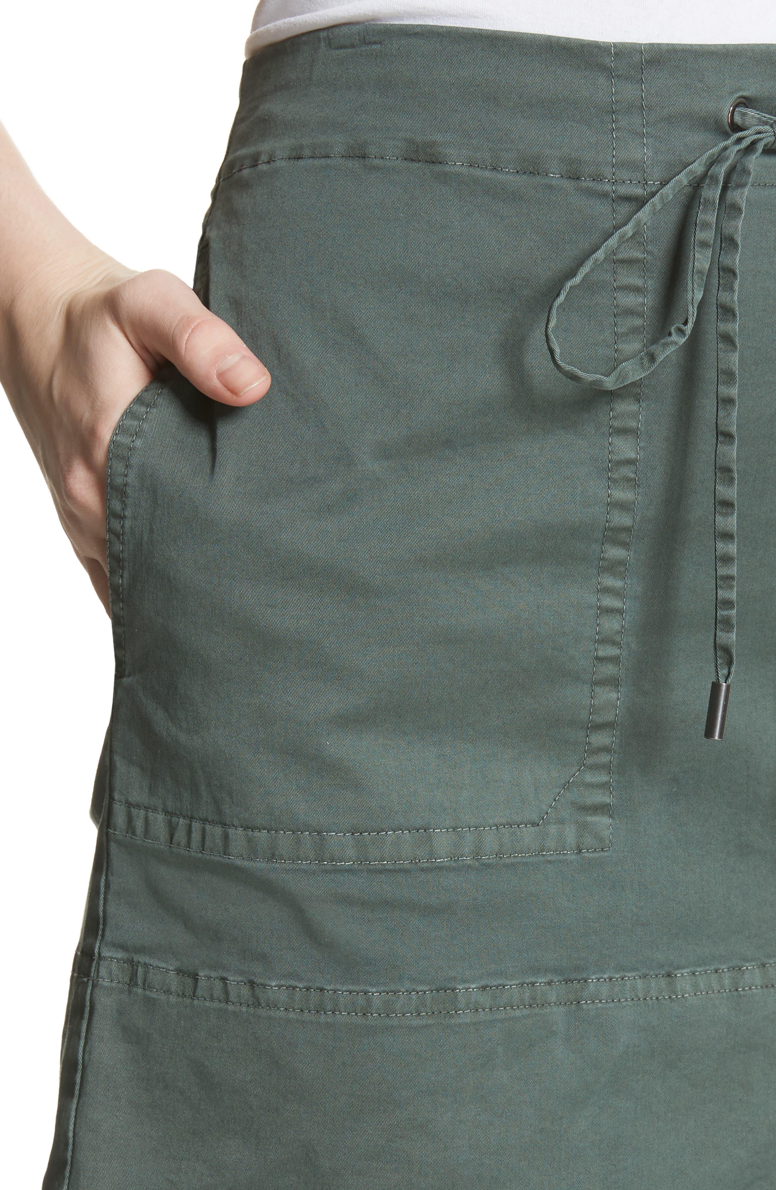 Stretch Cotton Drawstring Miniskirt,                             Alternate thumbnail 4, color,                             Spanish Green