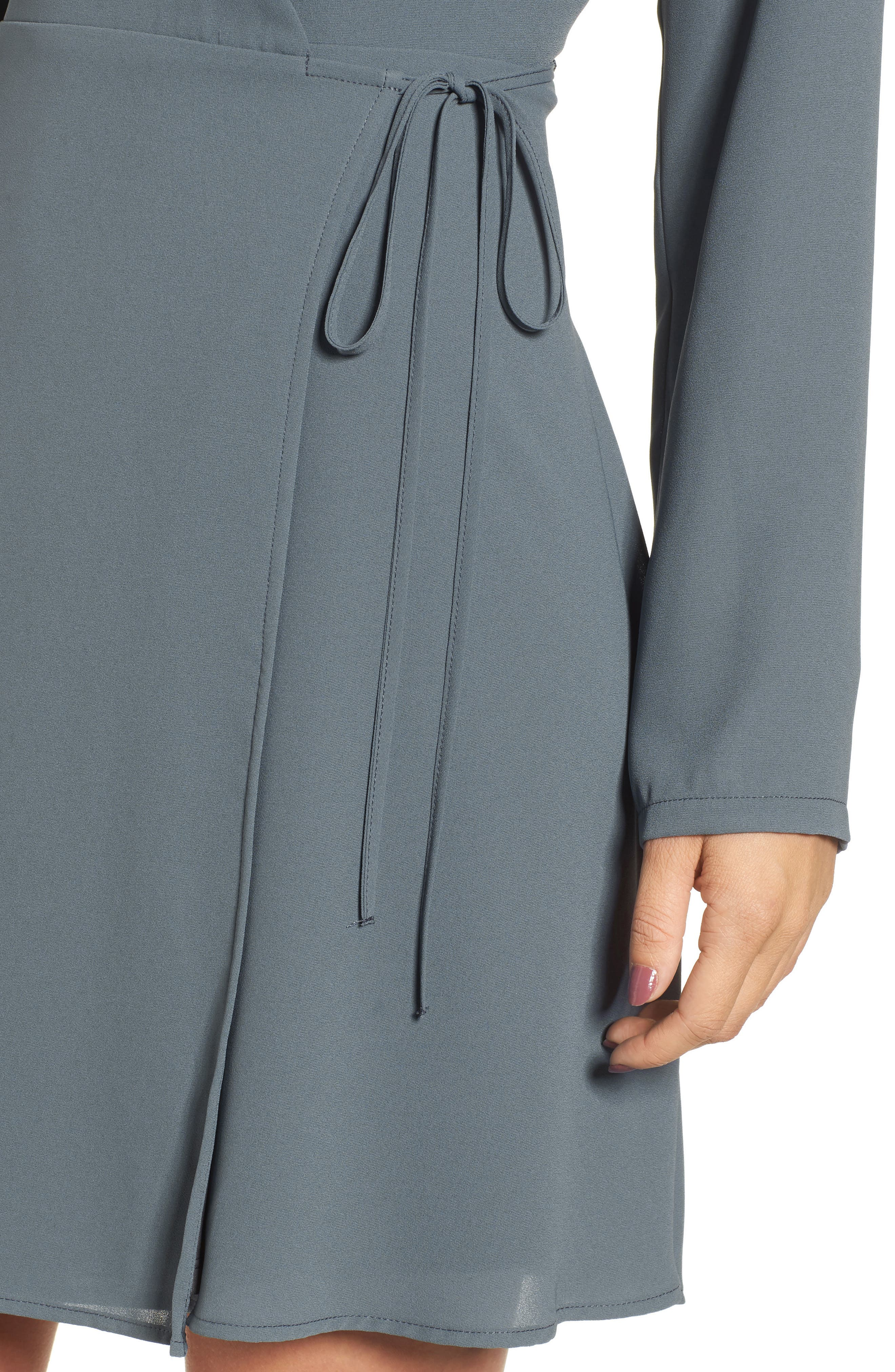 Elly Wrap Dress,                             Alternate thumbnail 4, color,                             Stormy Weather