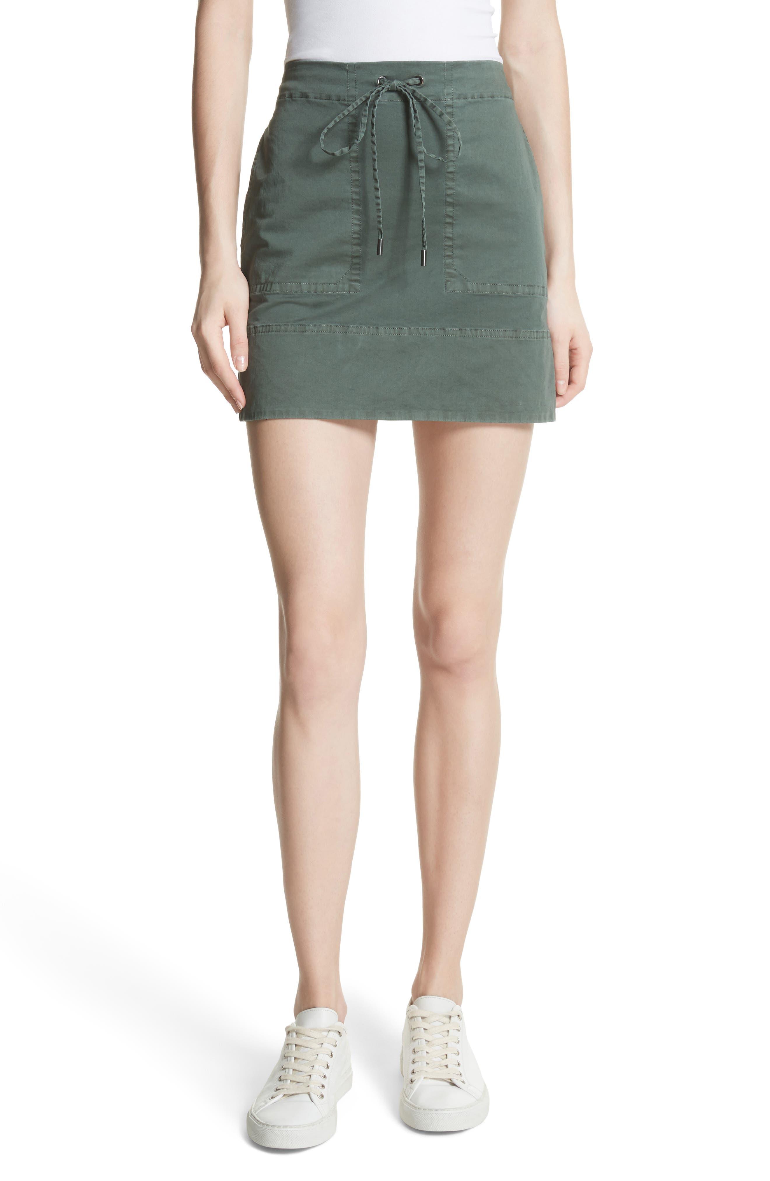 Stretch Cotton Drawstring Miniskirt,                         Main,                         color, Spanish Green